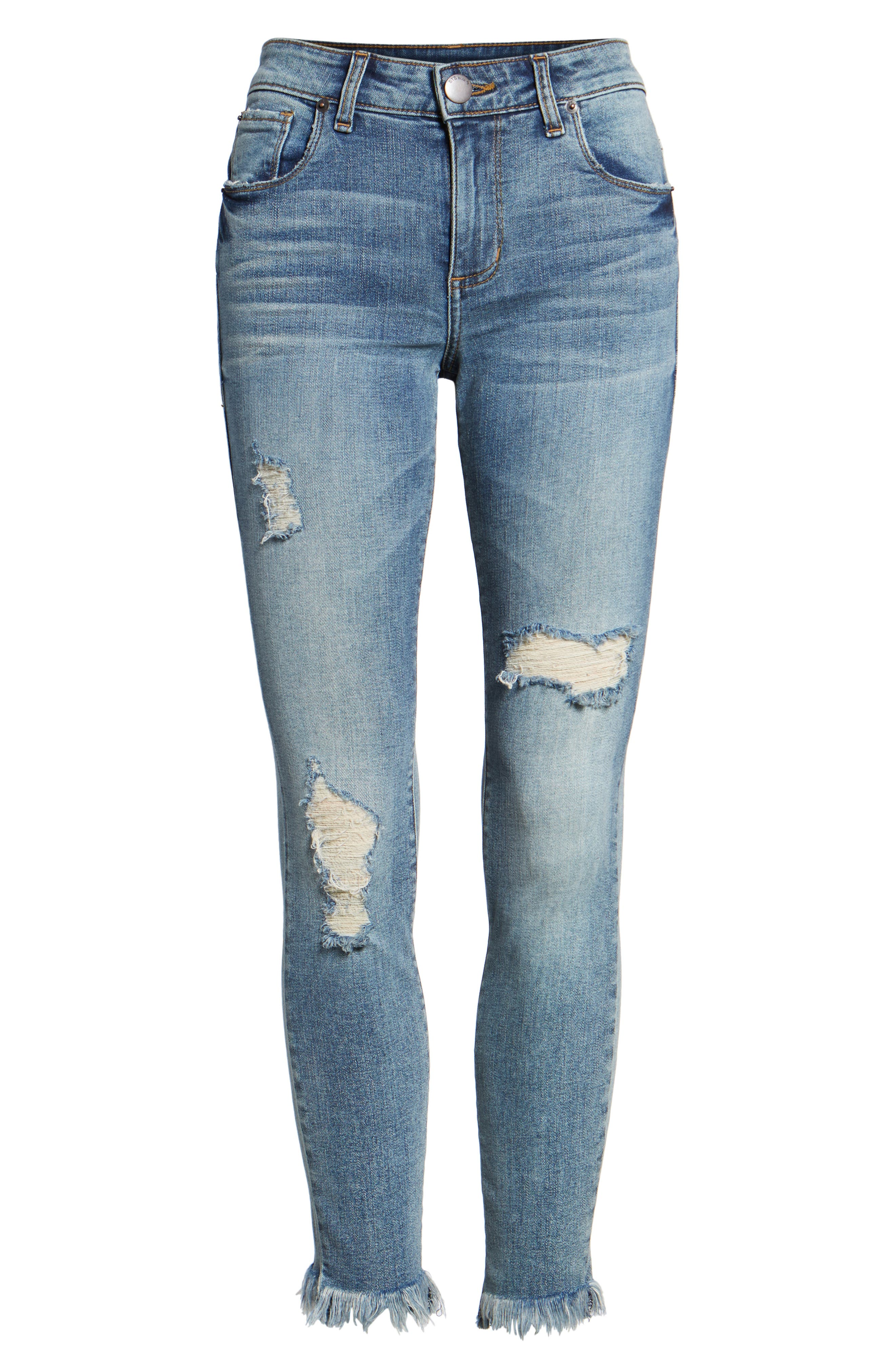 Exaggerated Hem Skinny Jeans,                             Alternate thumbnail 6, color,                             North Canfield