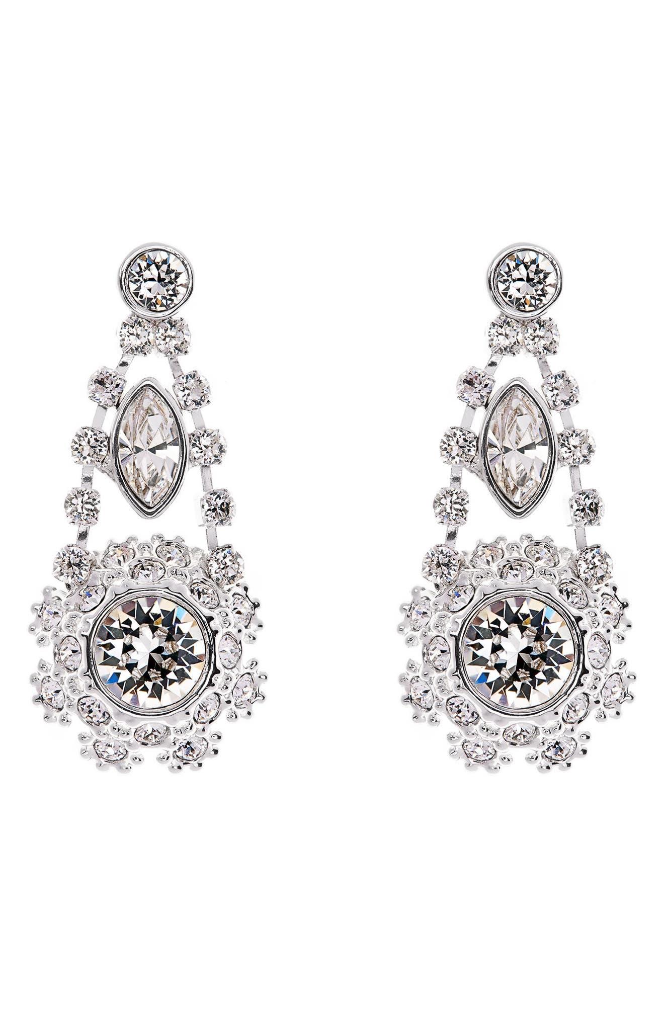 Crystal Daisy Lace Drop Earrings,                             Main thumbnail 1, color,                             Clear