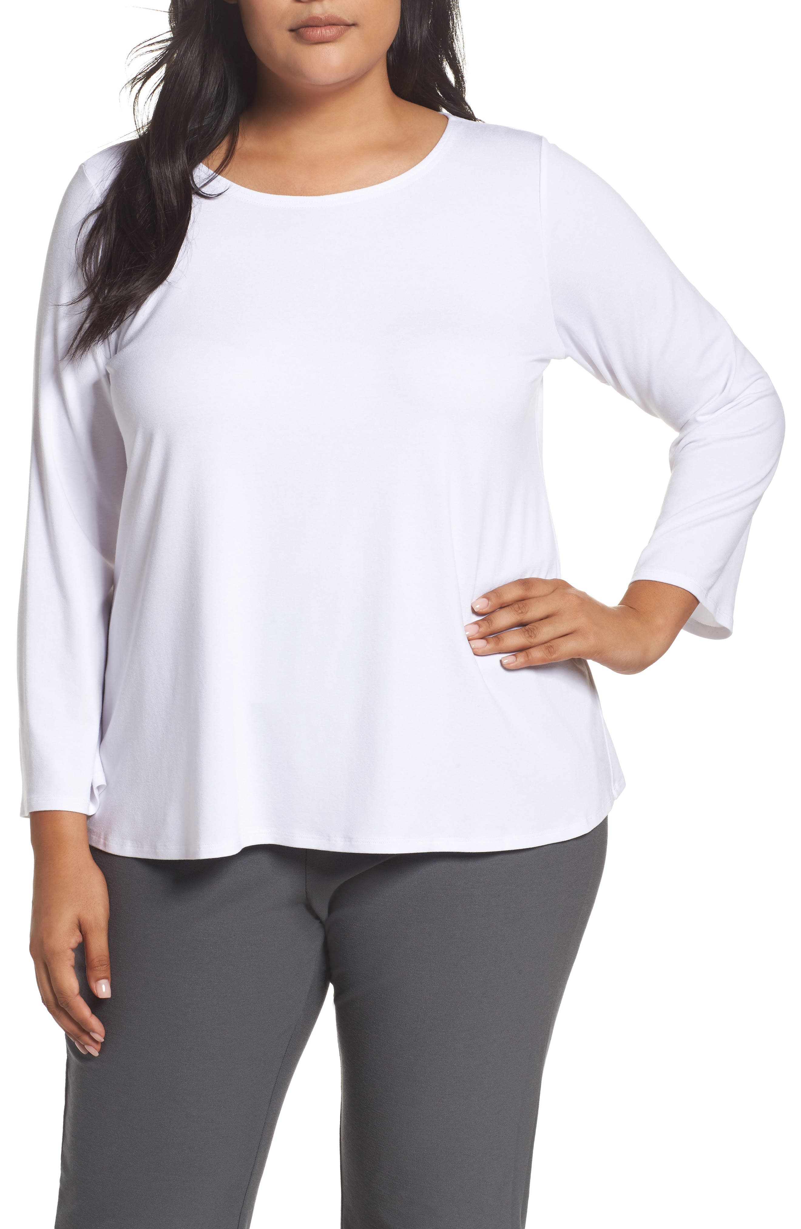 Main Image - Eileen Fisher Jersey Ballet Neck Top (Plus Size)