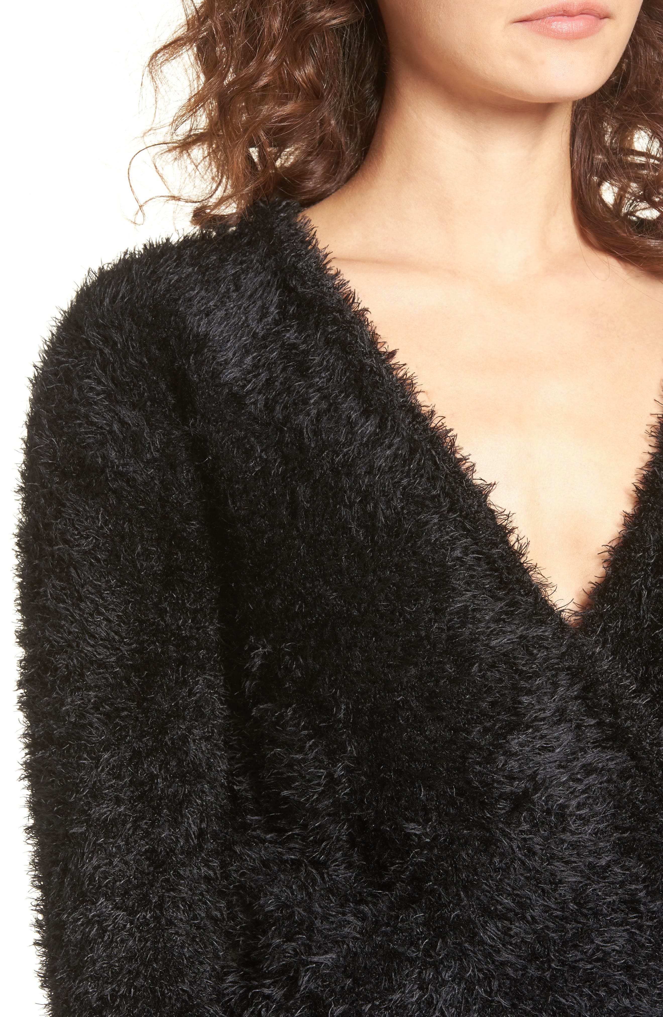 Fuzzy Surplice Sweater,                             Alternate thumbnail 4, color,                             Black