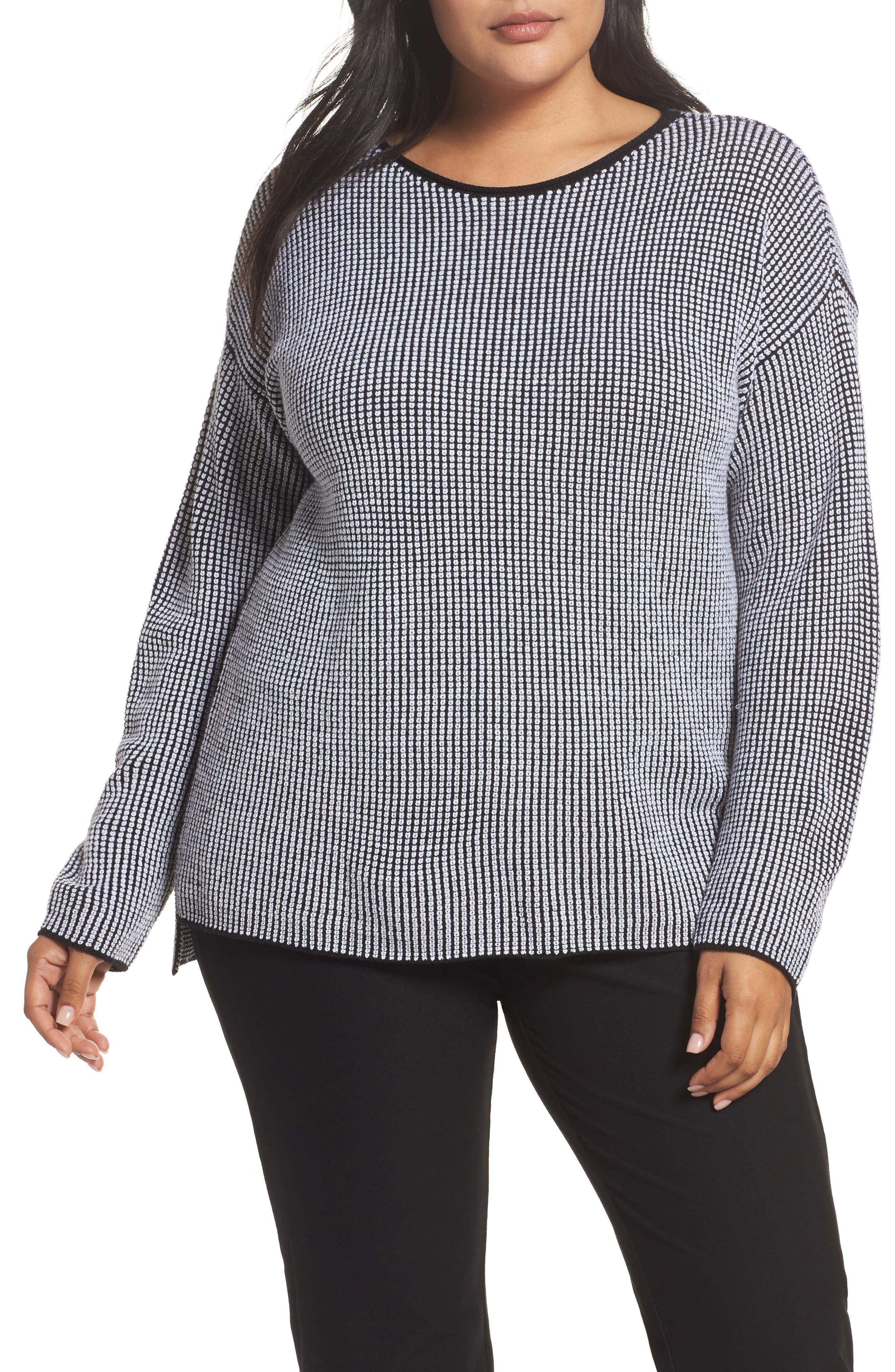 Alternate Image 1 Selected - Eileen Fisher Textured Merino Wool Sweater (Plus Size)
