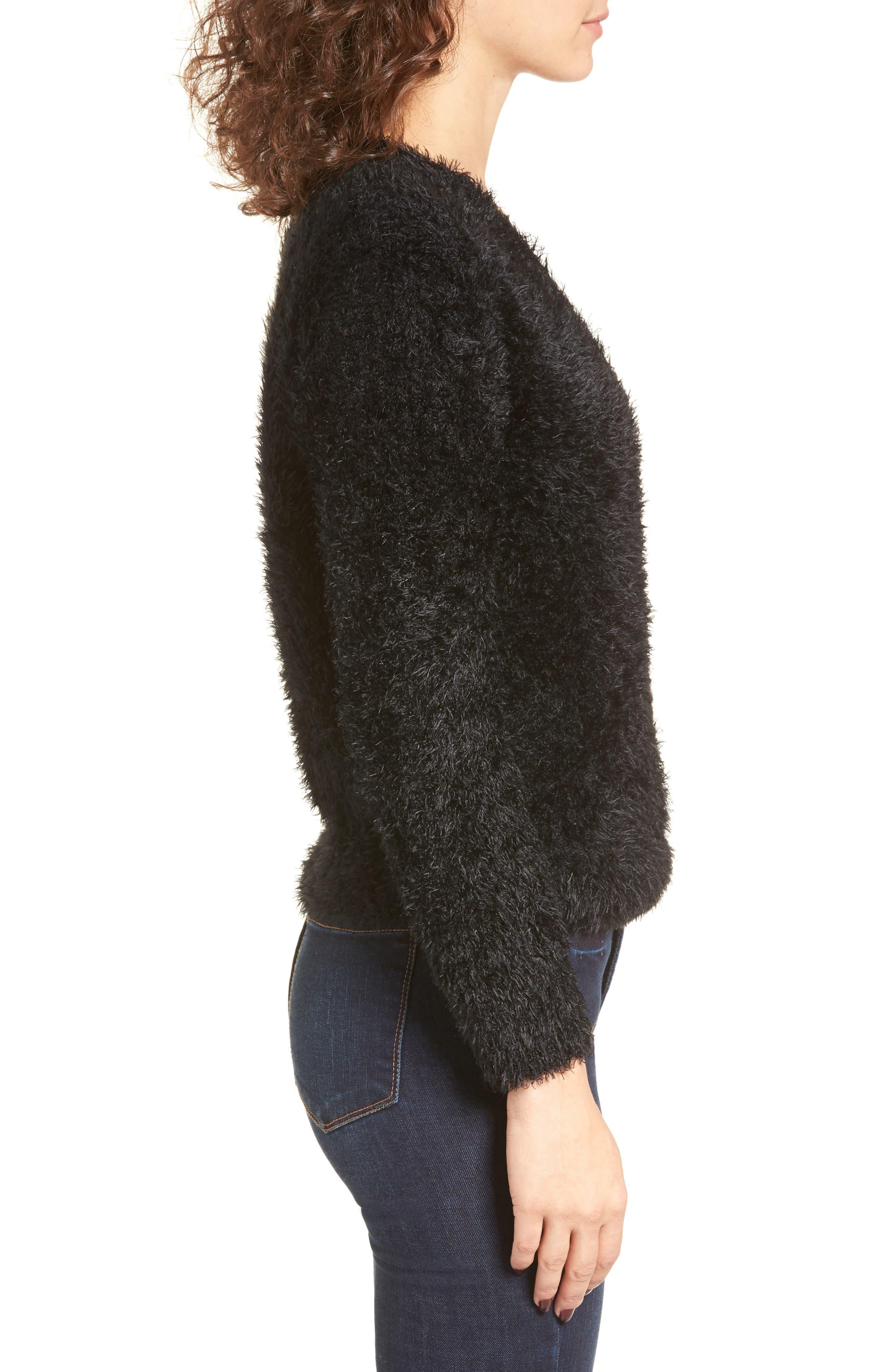 Fuzzy Surplice Sweater,                             Alternate thumbnail 3, color,                             Black