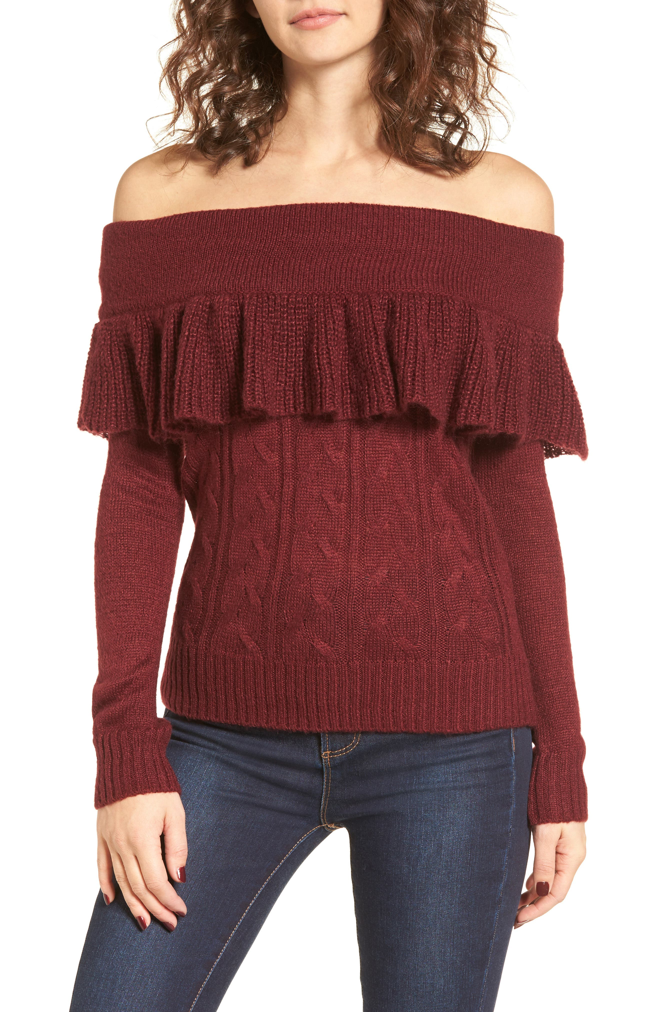 Sheldon Off the Shoulder Sweater,                         Main,                         color, Red Tannin