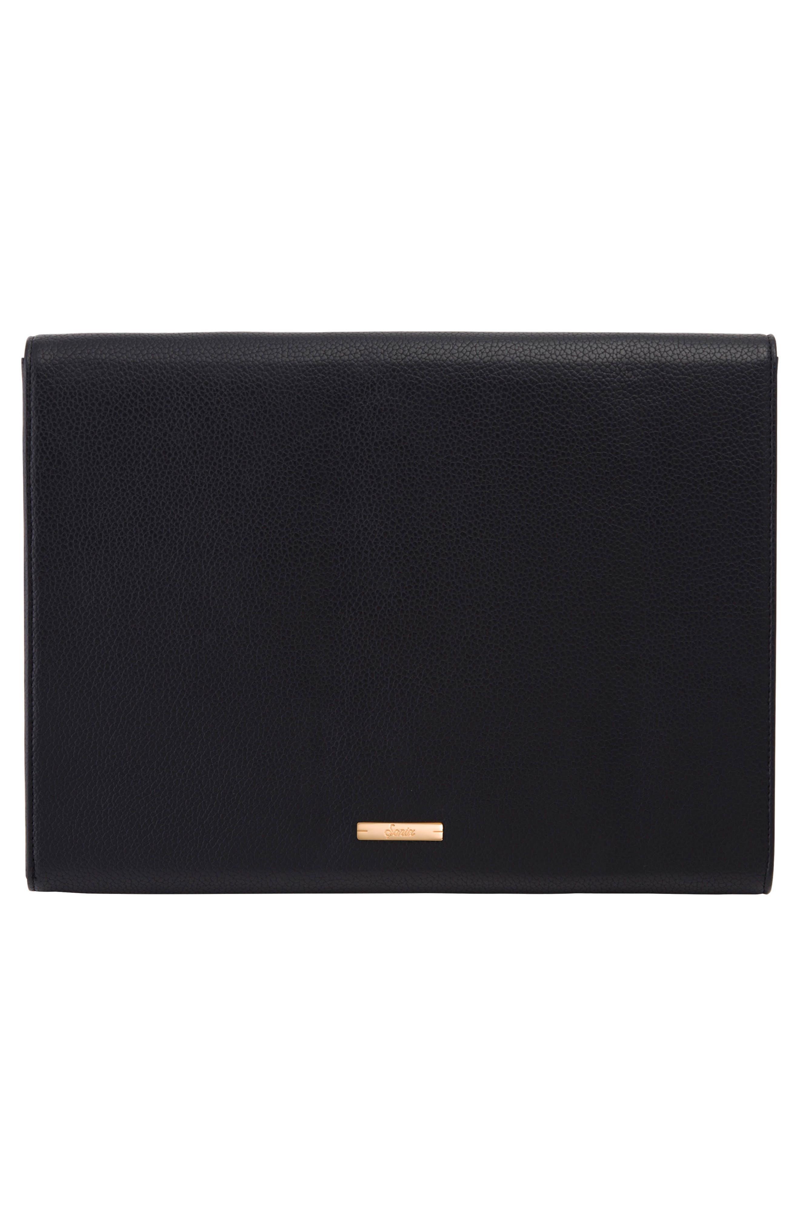 Fancy Heart Faux Leather Laptop Clutch,                             Alternate thumbnail 4, color,                             Black