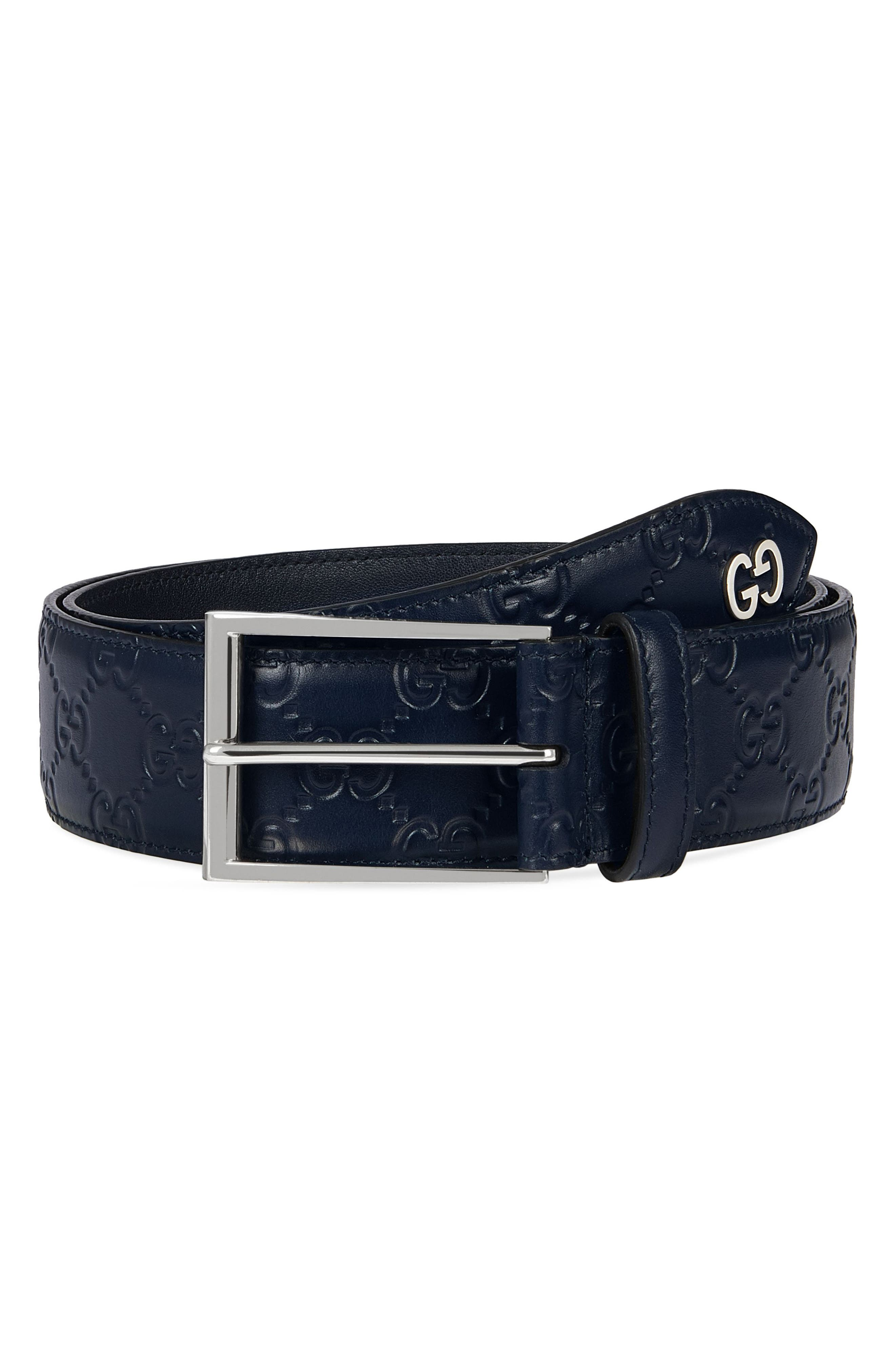 Leather Belt,                         Main,                         color, Blue
