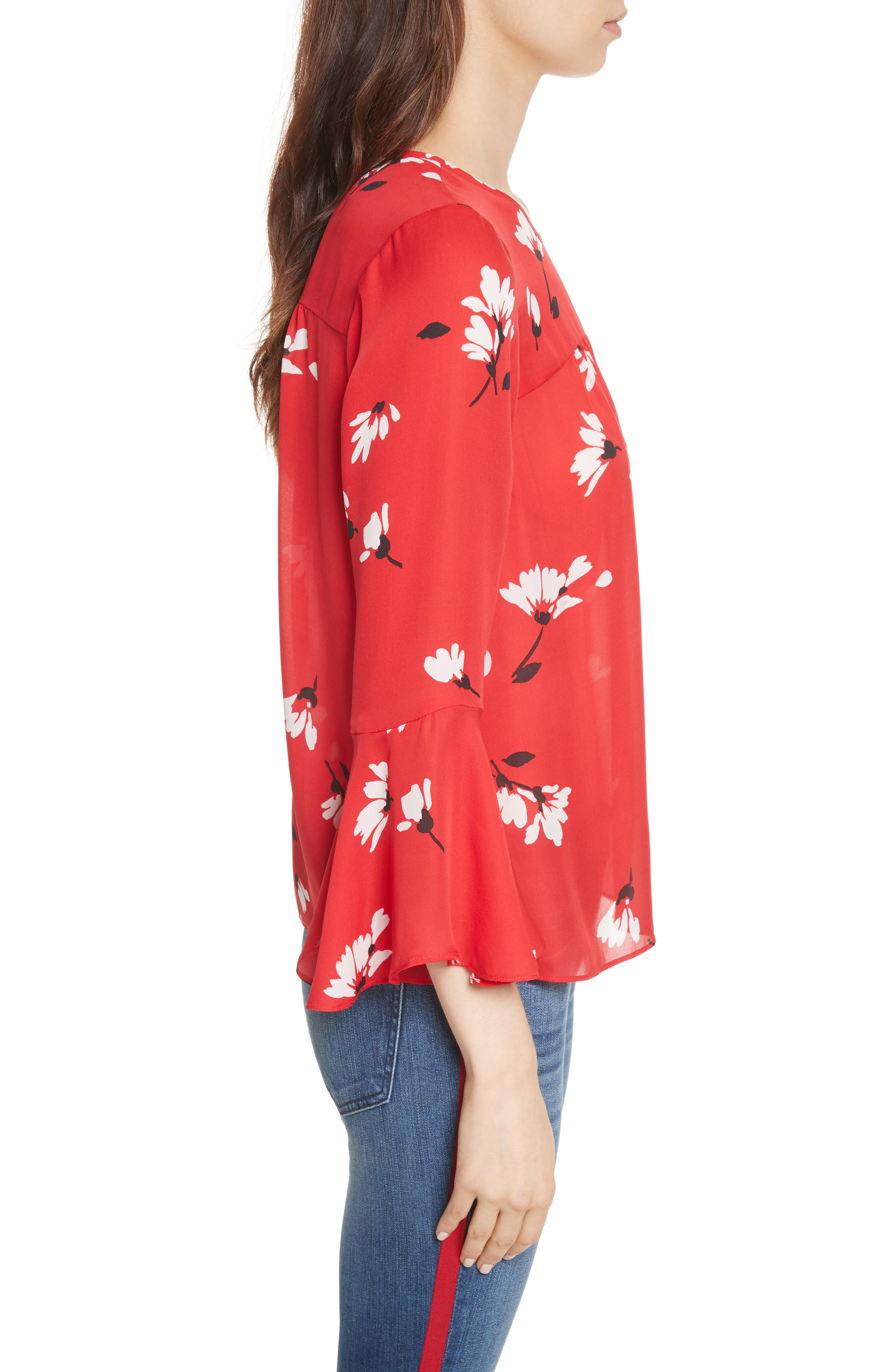 Awilda Bell Sleeve Silk Top,                             Alternate thumbnail 3, color,                             Alarm Red