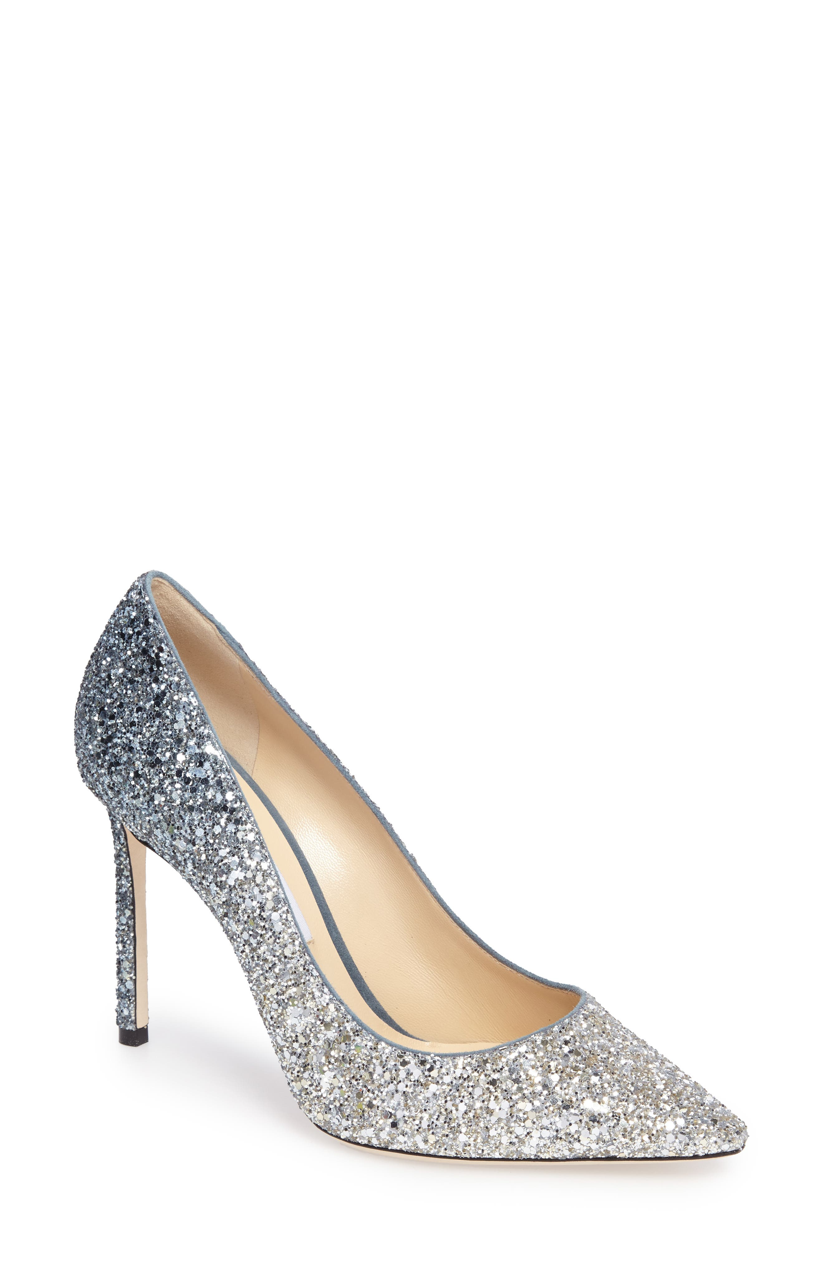 Romy Glitter Pump,                             Main thumbnail 1, color,                             Silver/ Dusk Blue