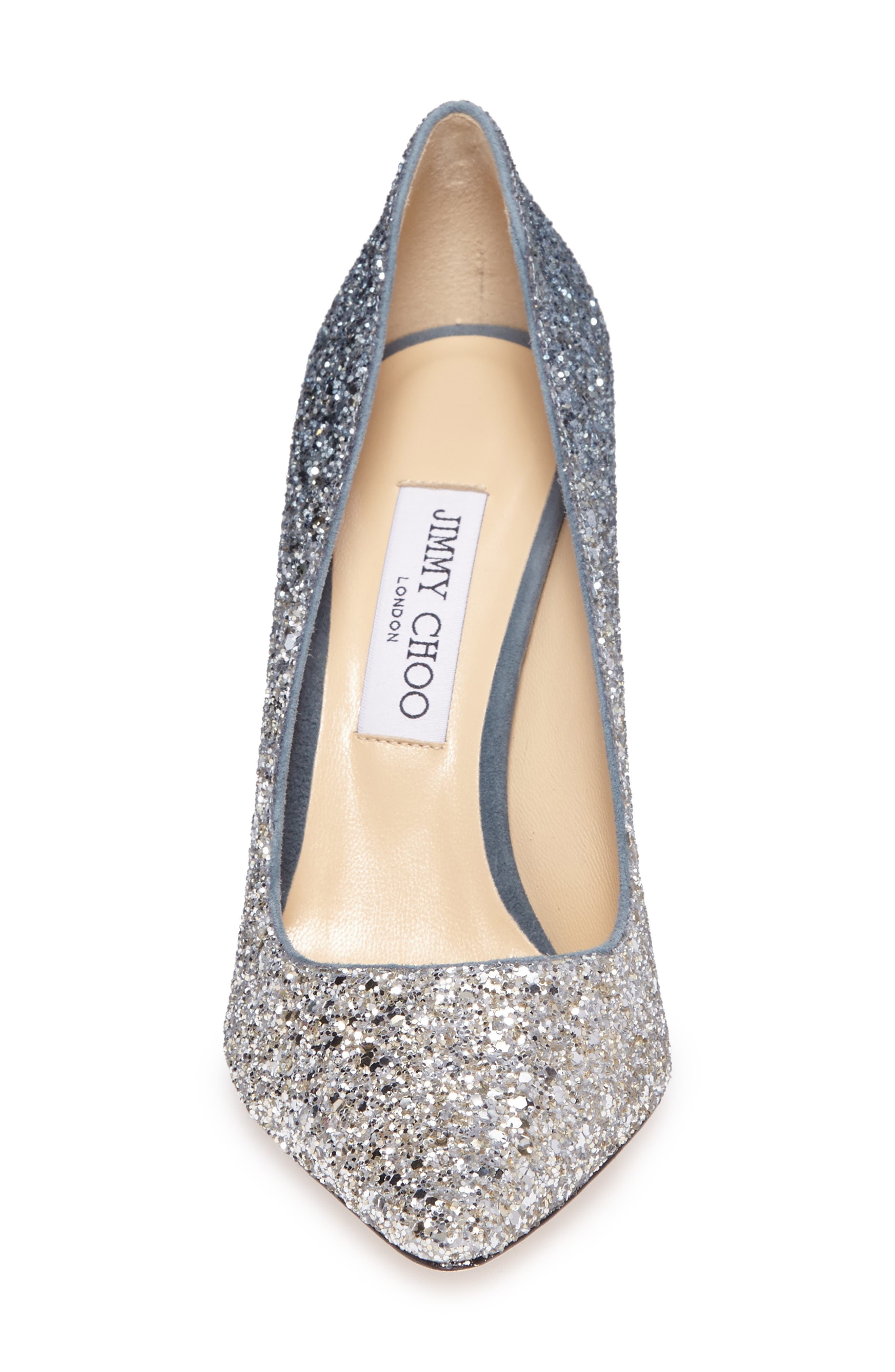 Romy Glitter Pump,                             Alternate thumbnail 5, color,                             Silver/ Dusk Blue