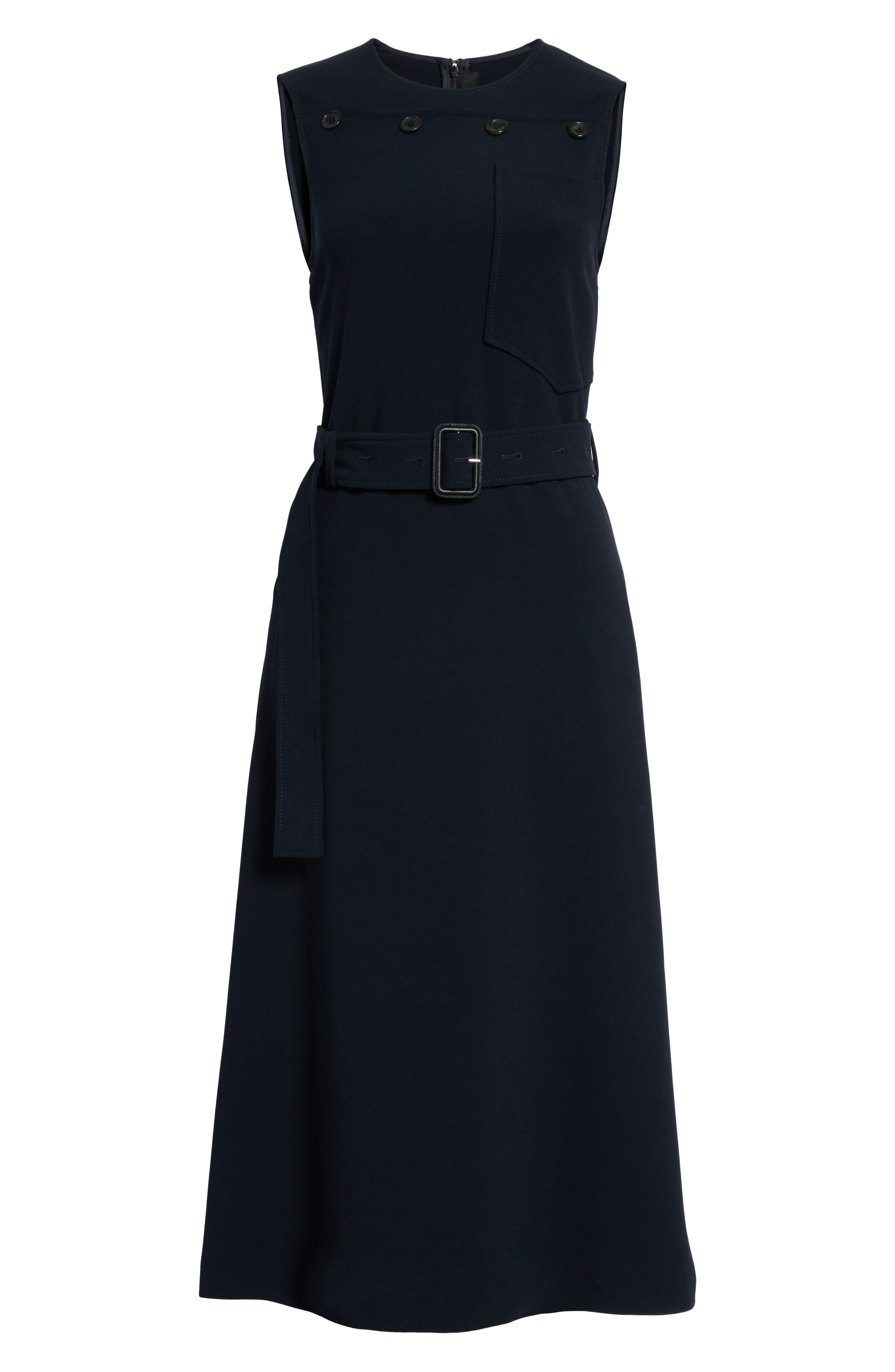 Tessa Heavy Viscose Dress,                             Alternate thumbnail 6, color,                             Navy