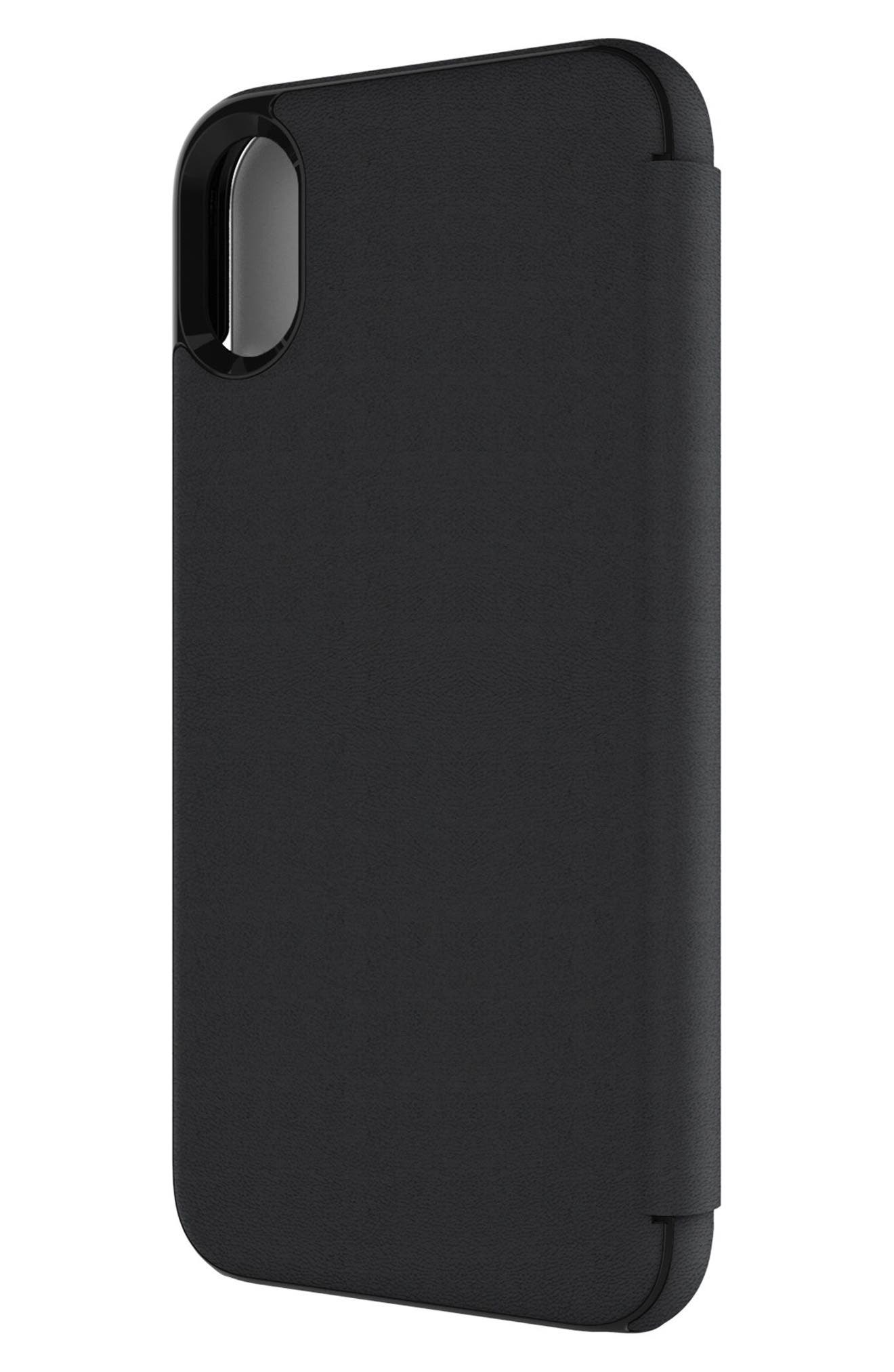 Privacy Folio iPhone X Case,                             Alternate thumbnail 4, color,                             Black Gunmetal