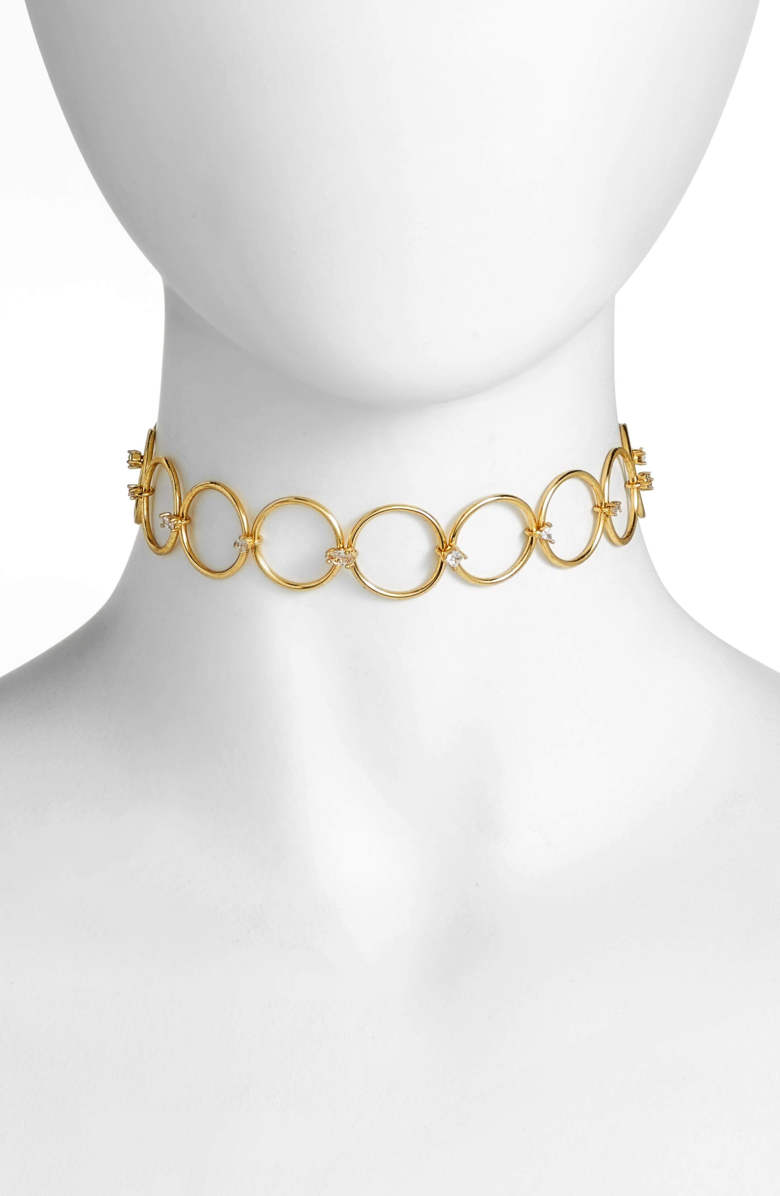 Scattered Jewel Loop Choker,                         Main,                         color, Gold