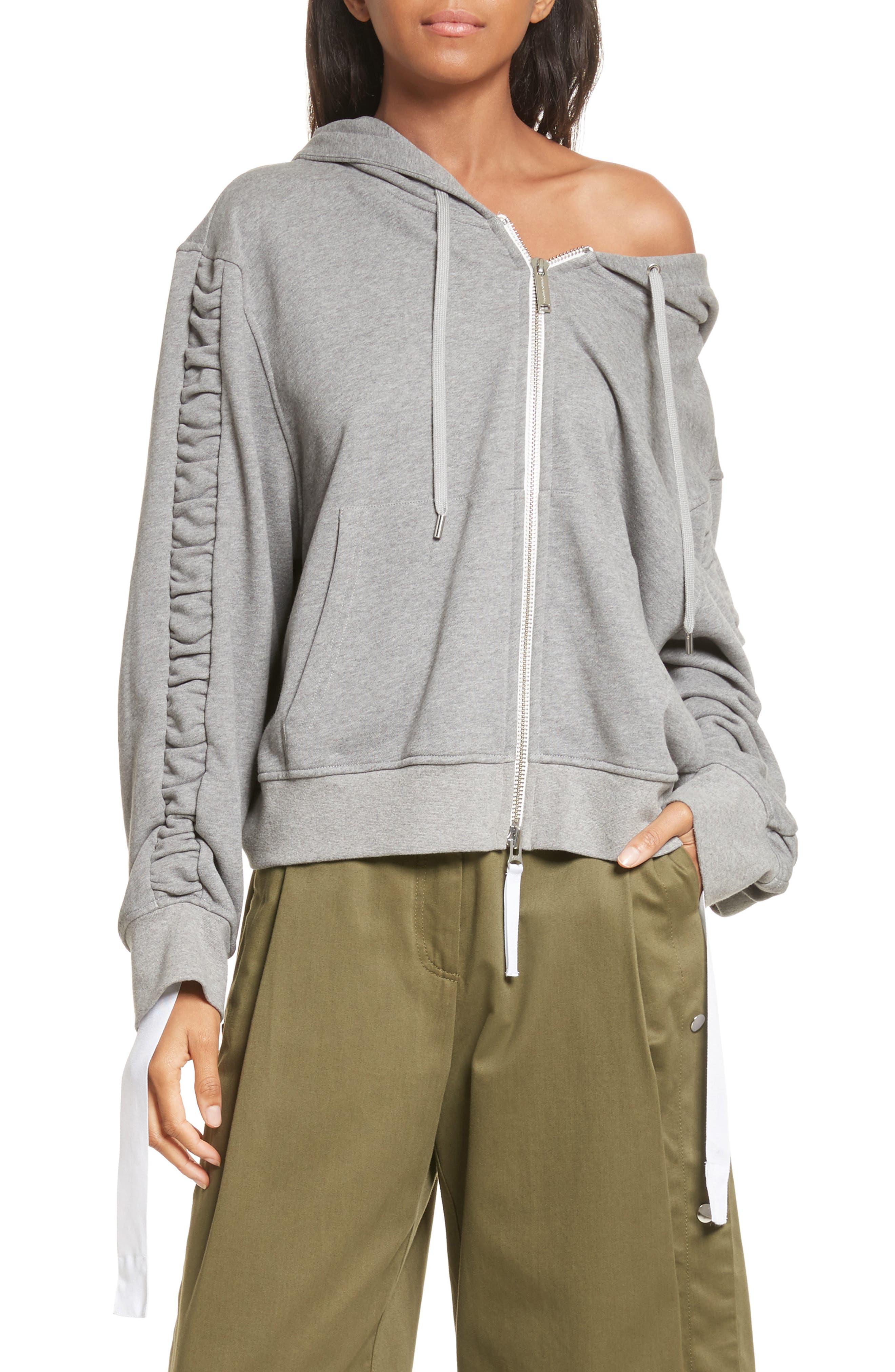 Ashlei Cotton Hoodie,                         Main,                         color, Melange Grey