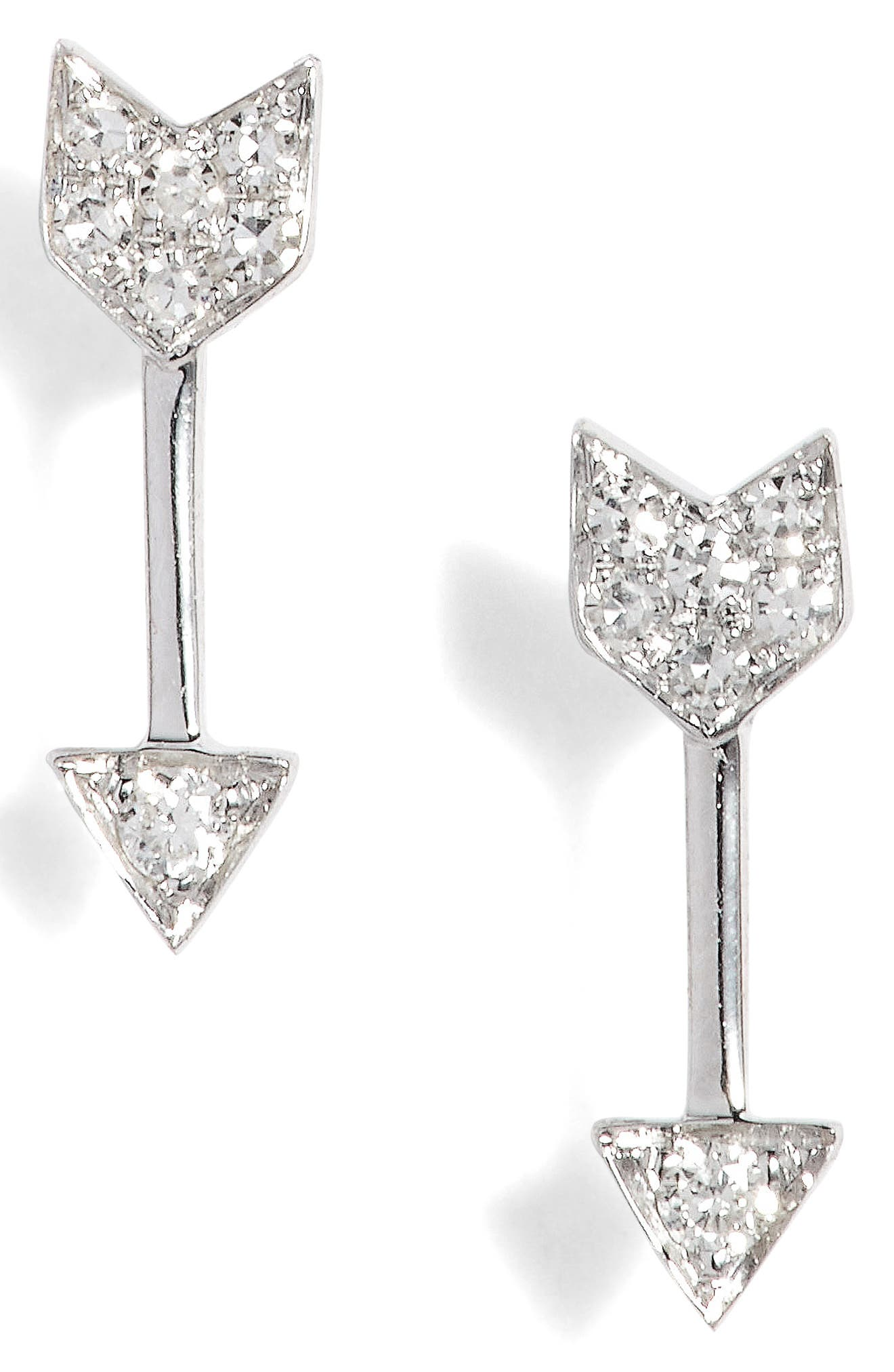 Diamond Arrow Stud Earrings,                         Main,                         color, White Gold