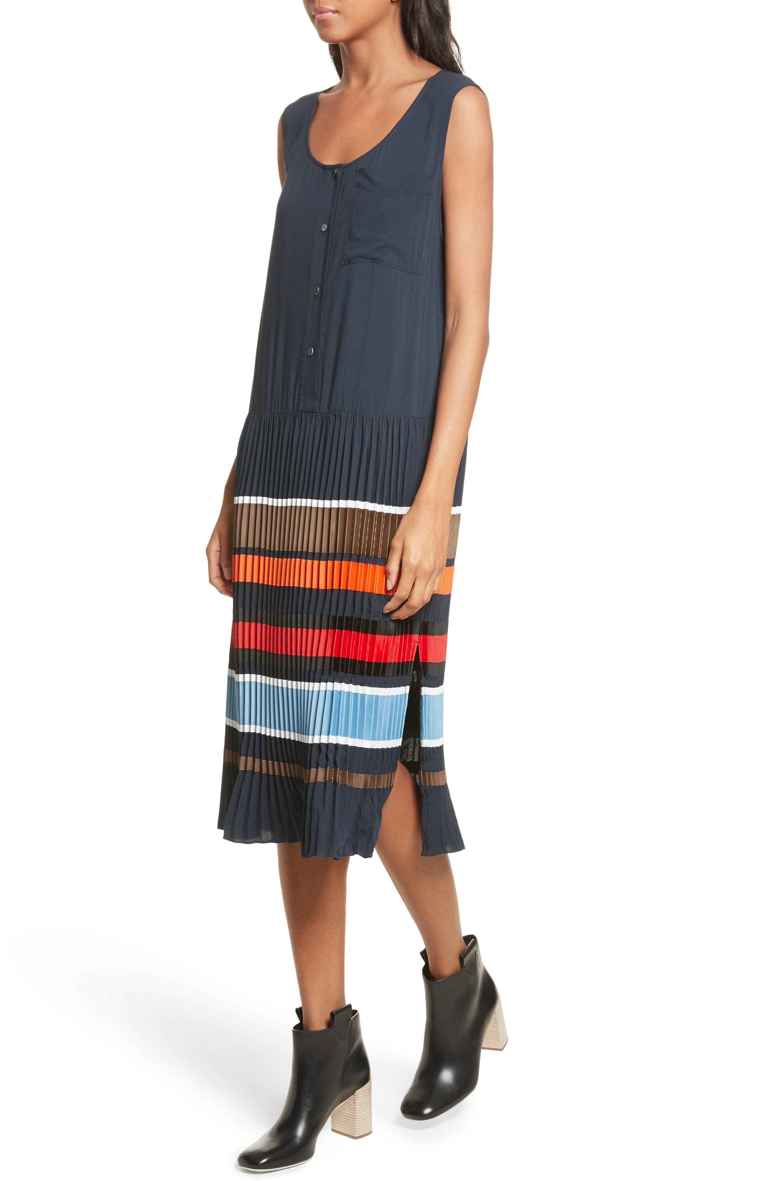 Jama Pleated Stripe Dress,                             Alternate thumbnail 4, color,                             Navy Multi