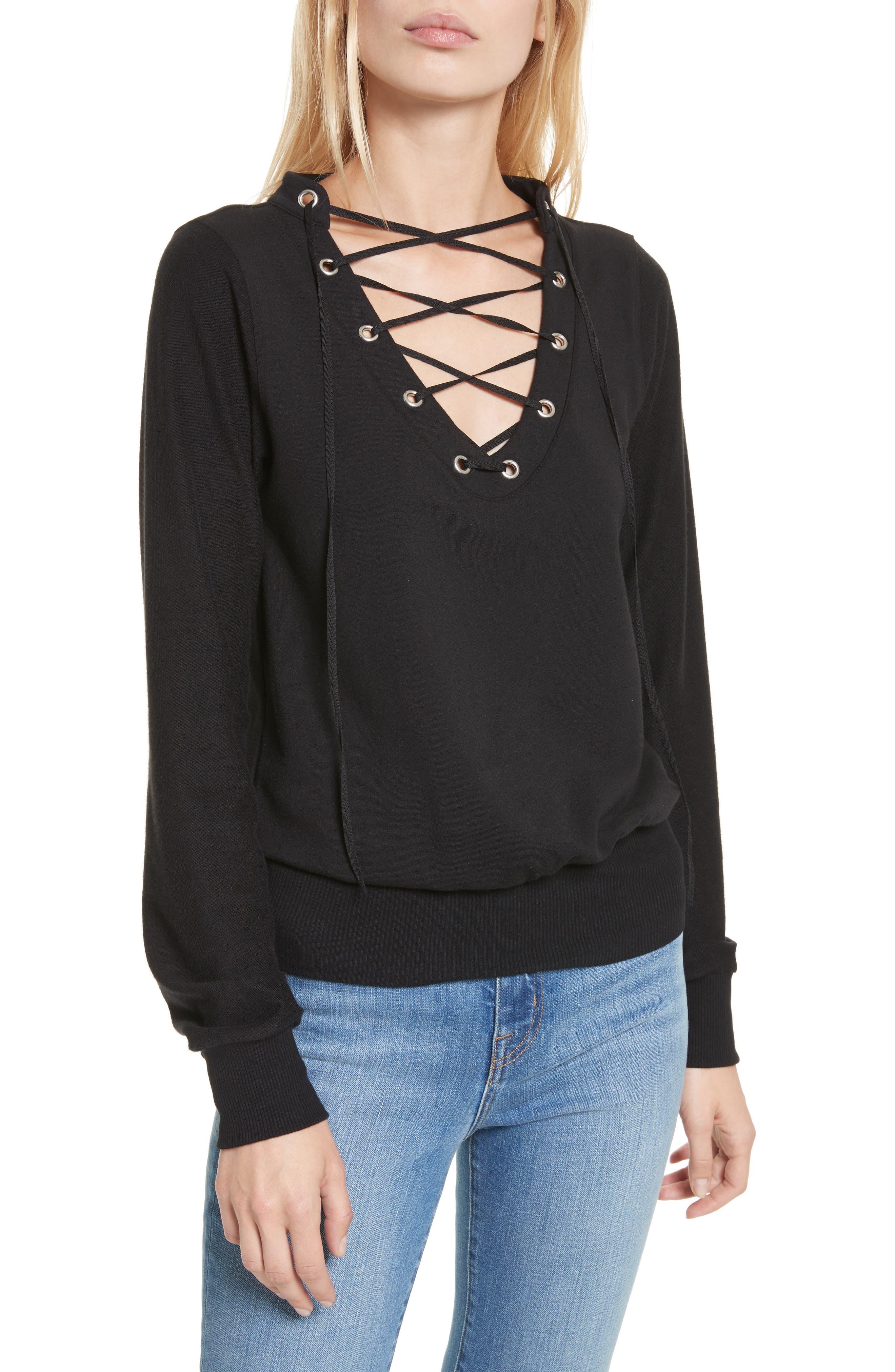 Main Image - L'AGENCE Josilyn Lace-Up Sweatshirt