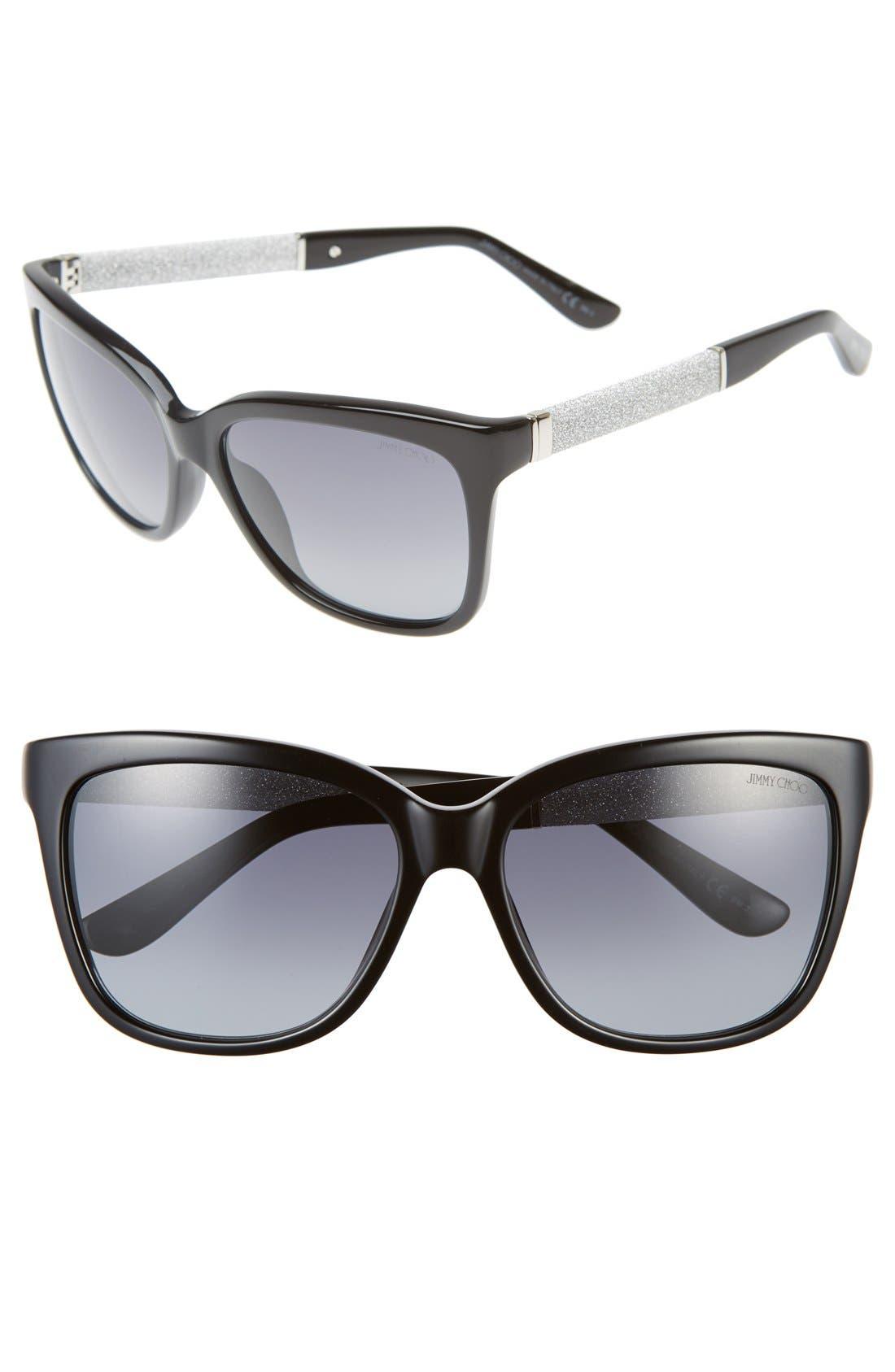 'Coras' 56mm Retro Sunglasses,                         Main,                         color, Black