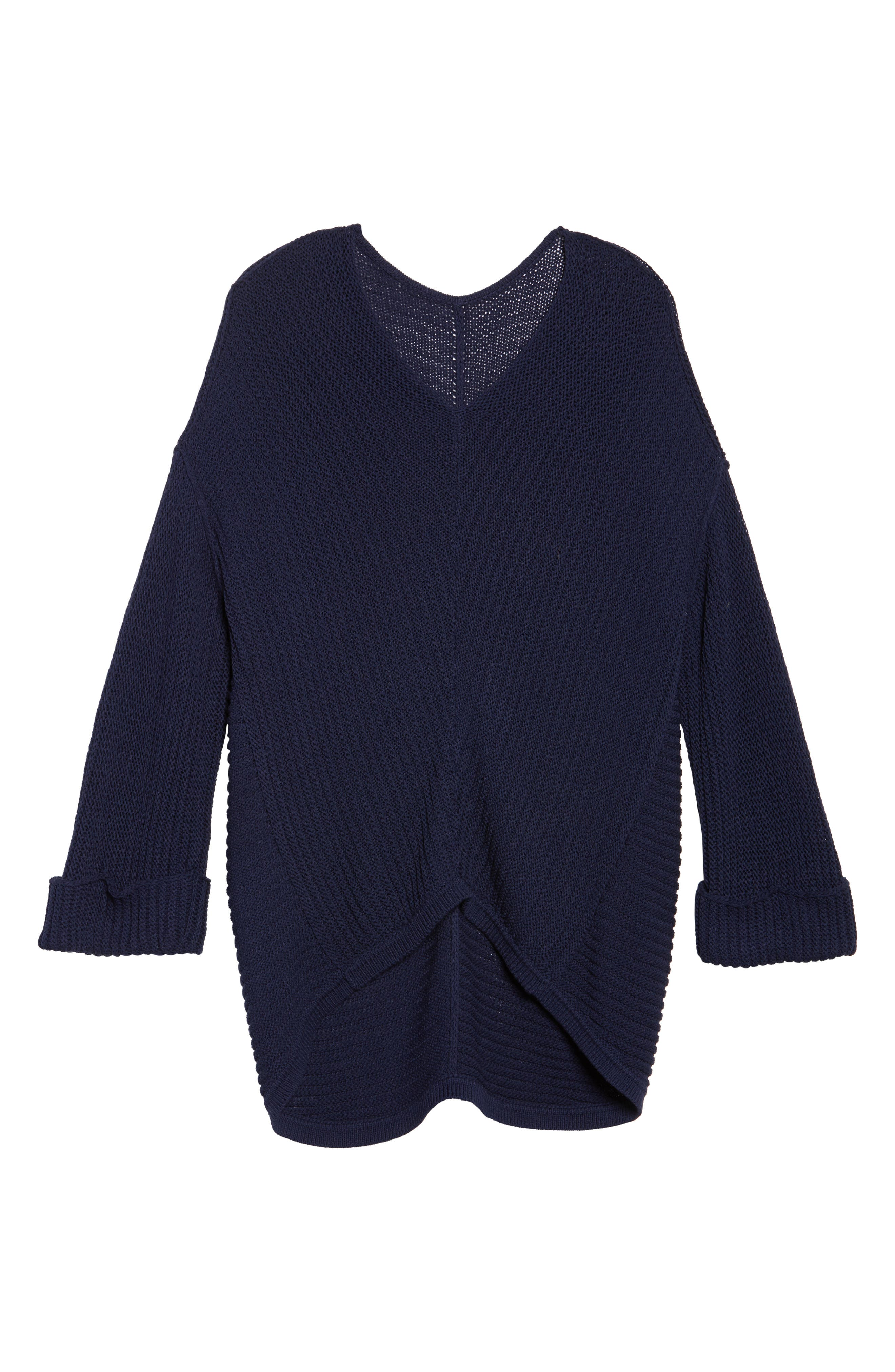 Cuffed Bell Sleeve Sweater,                             Alternate thumbnail 6, color,                             Navy Peacoat