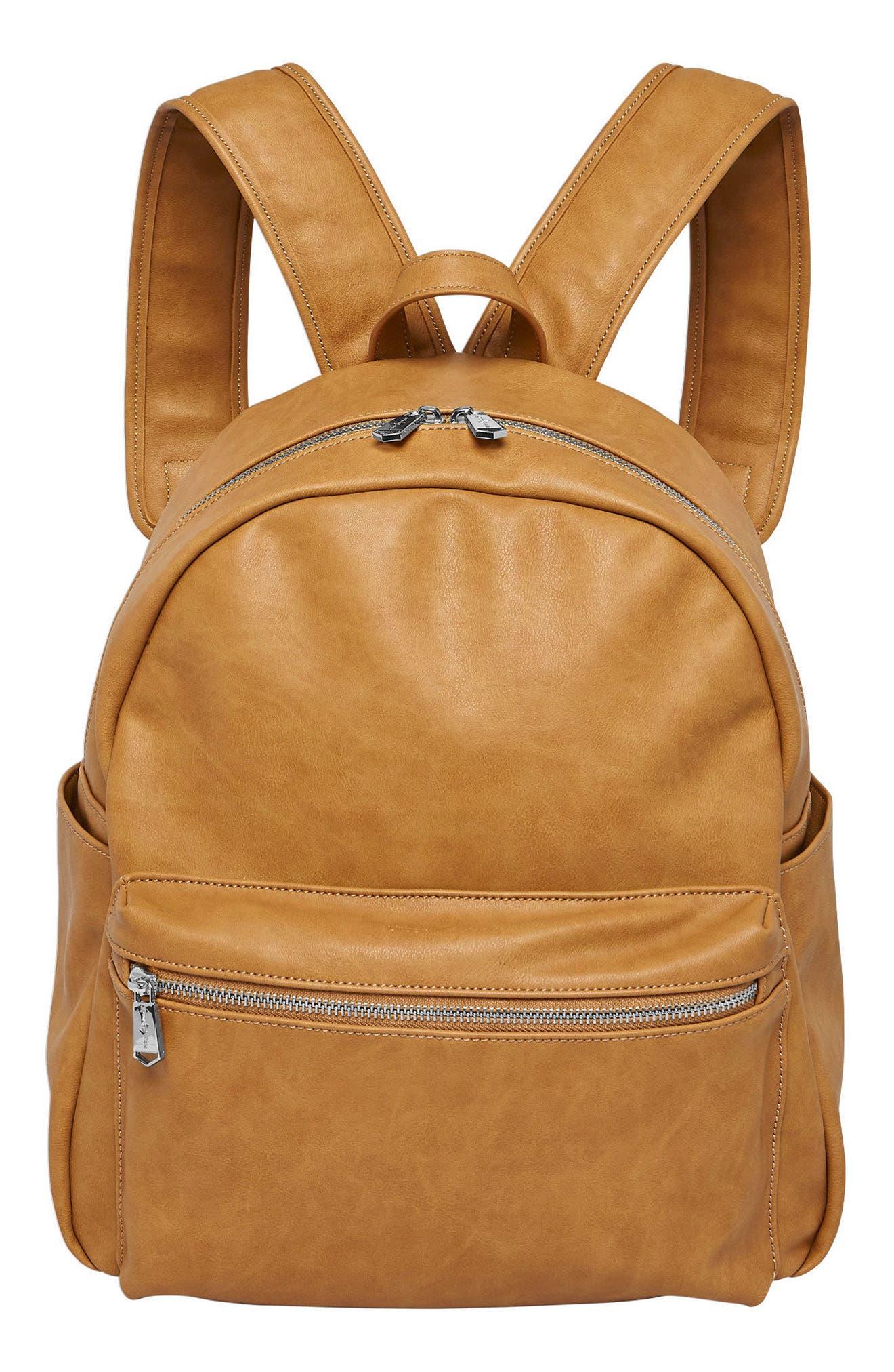Practical Vegan Leather Backpack,                         Main,                         color, Camel