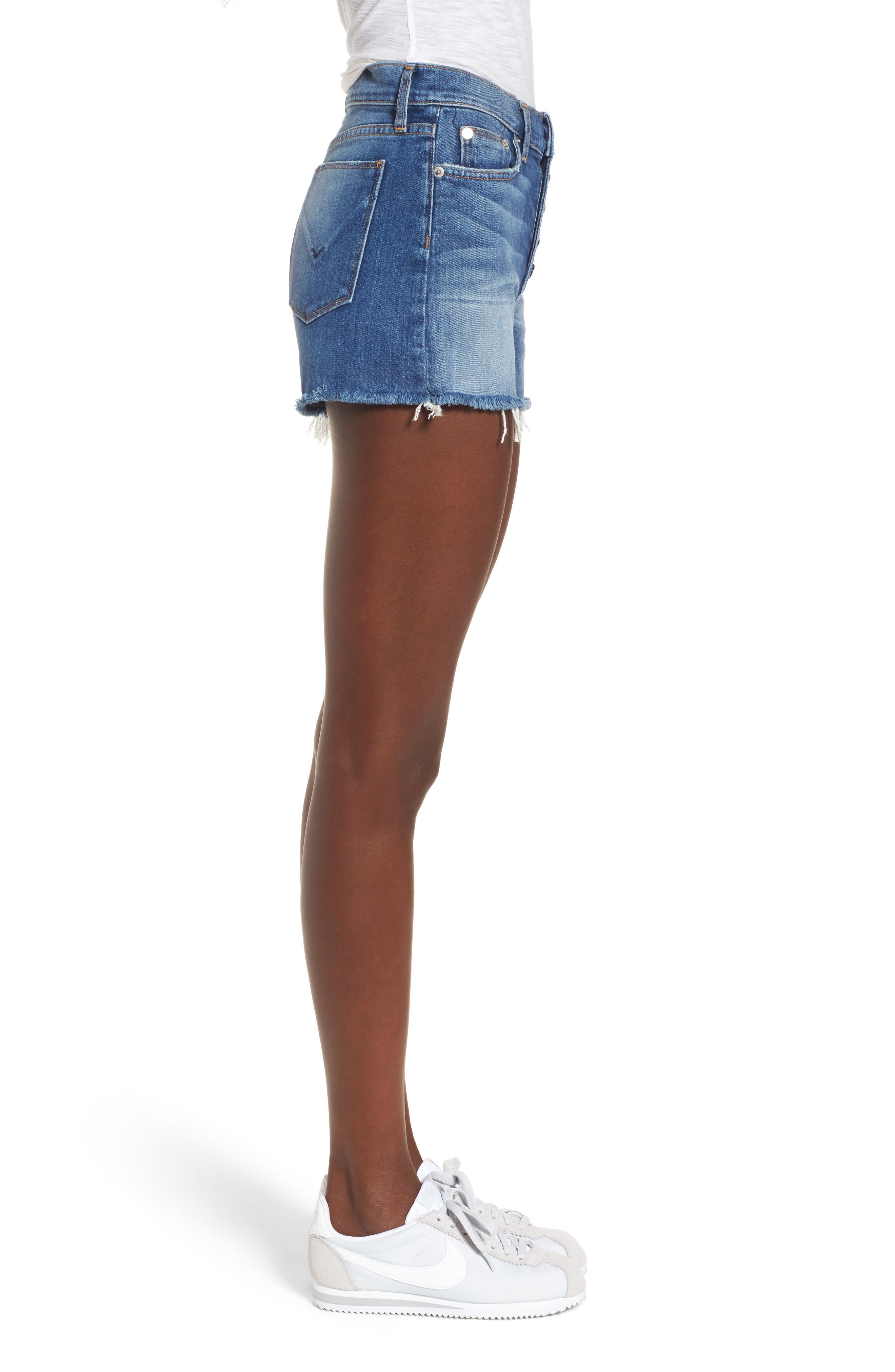 Zoeey High Waist Cutoff Denim Shorts,                             Alternate thumbnail 3, color,                             Doll Face