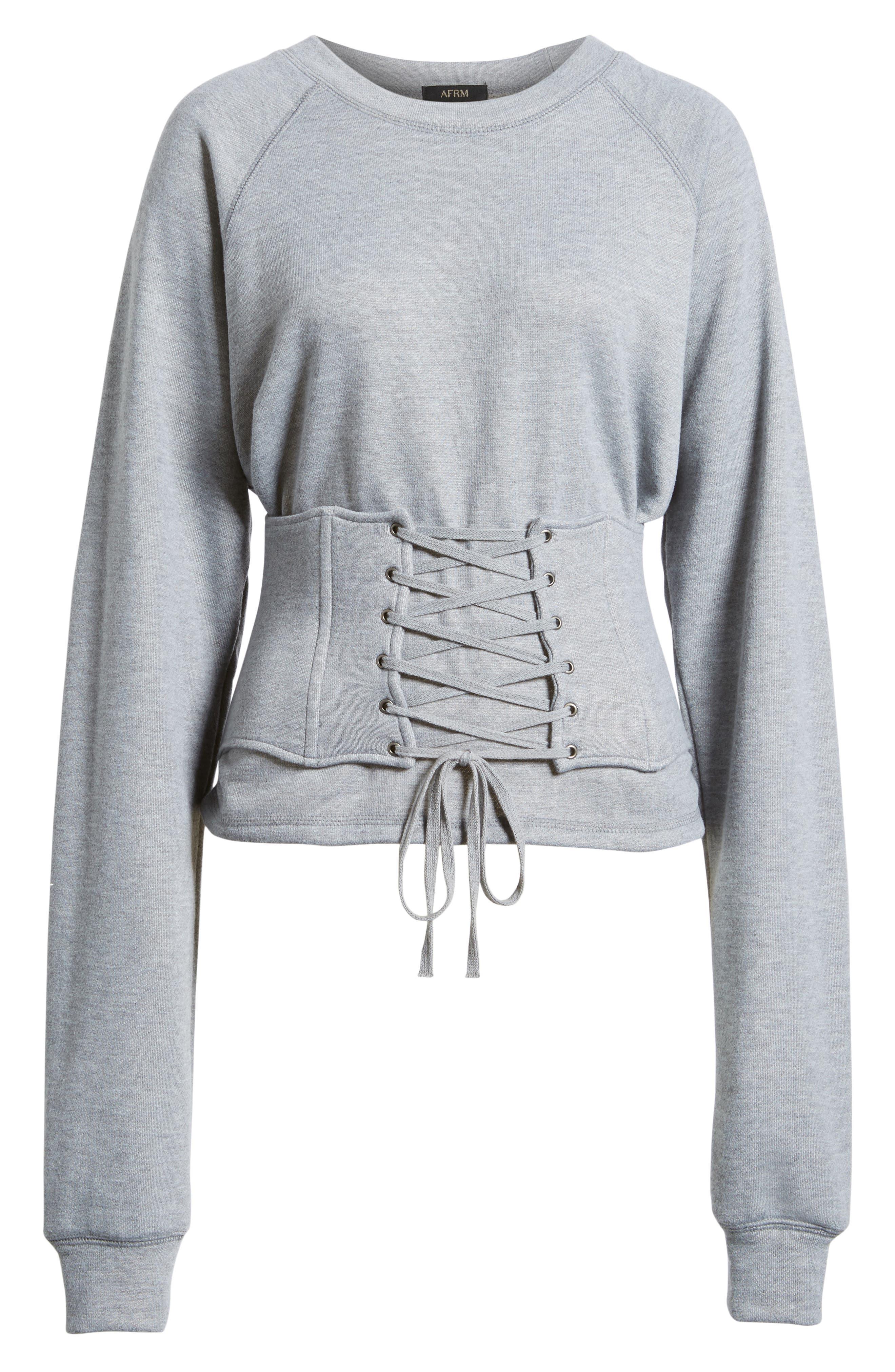Mason Corset Sweatshirt,                             Alternate thumbnail 6, color,                             Heather Grey