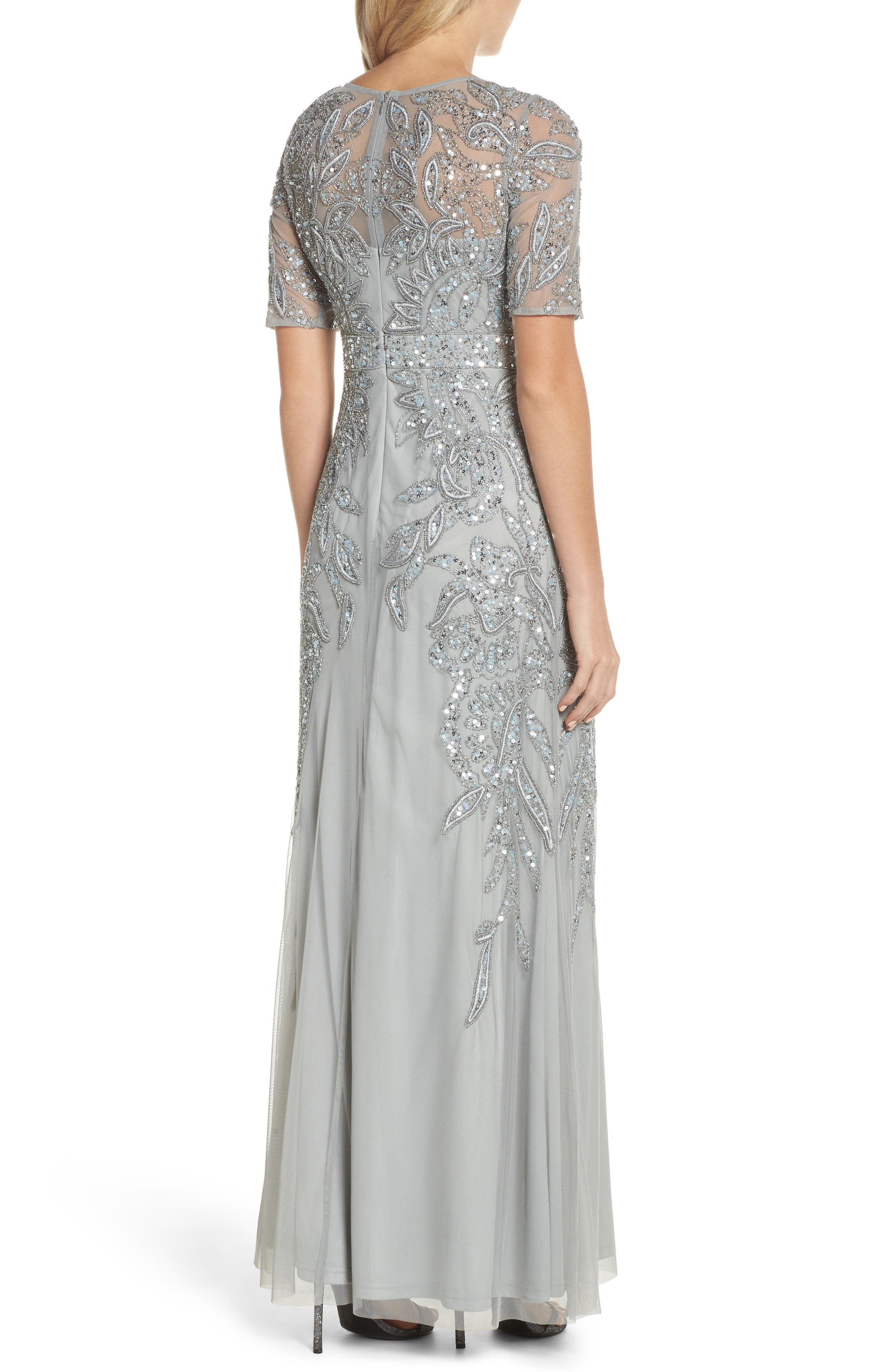 Embellished Mesh Gown,                             Alternate thumbnail 2, color,                             Blue Mist