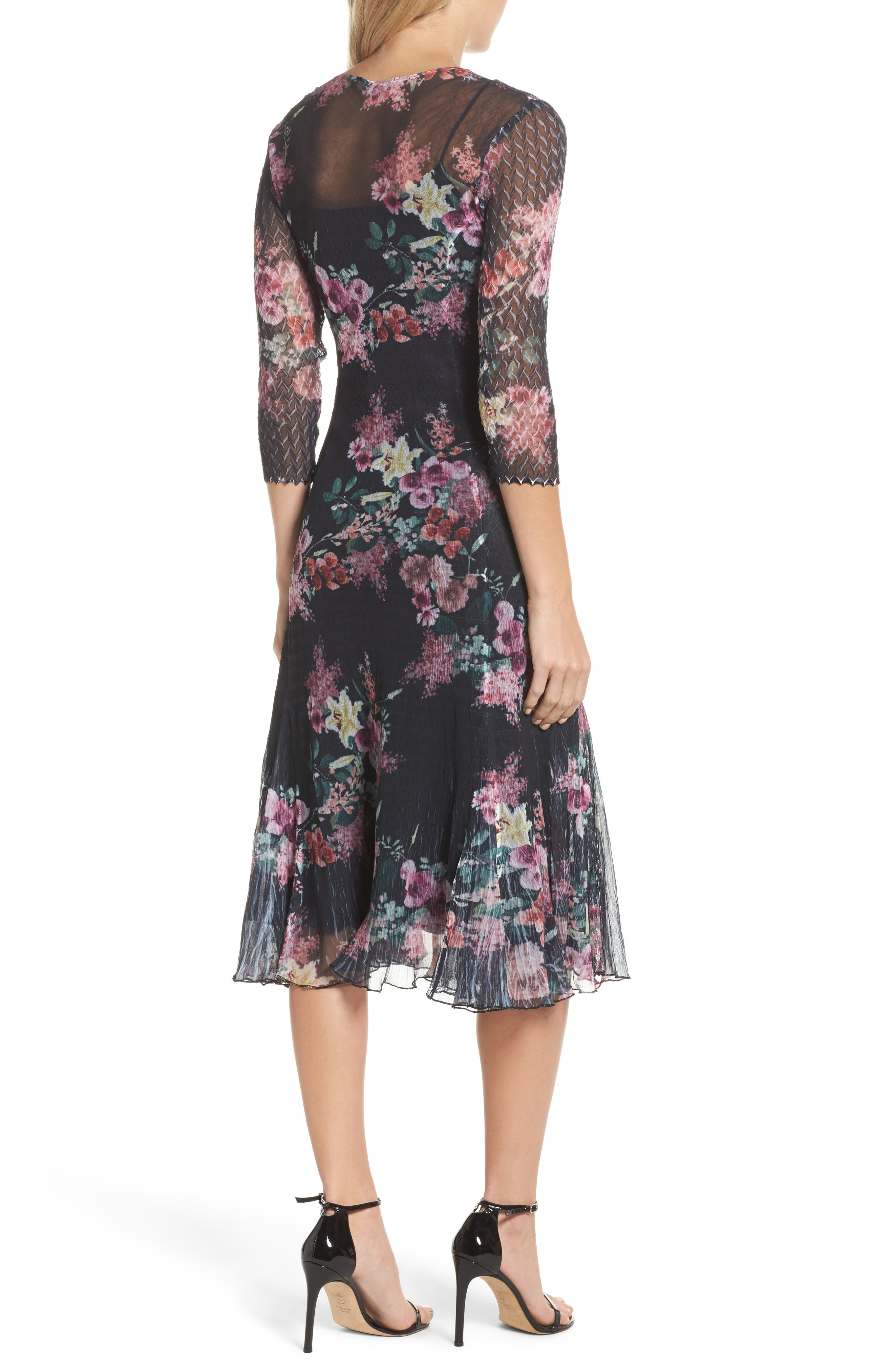 Floral A-Line Dress,                             Alternate thumbnail 2, color,                             Evening Garden
