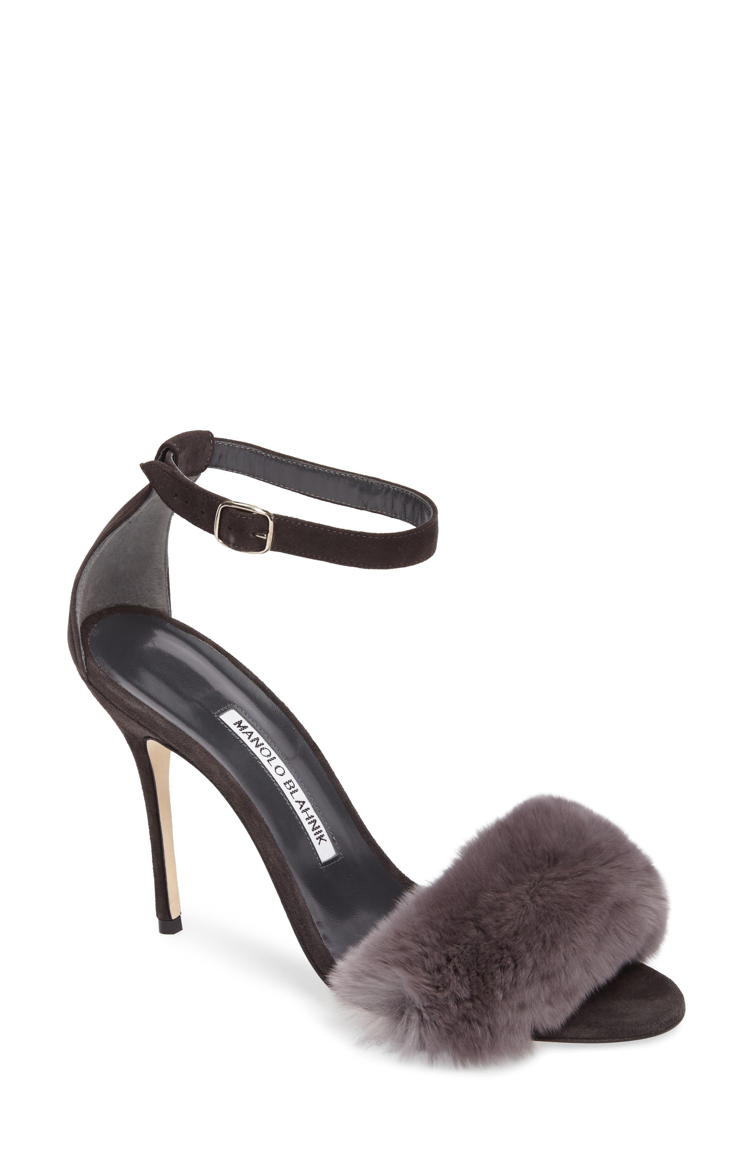 Mincha Genuine Rabbit Fur Sandal,                             Main thumbnail 1, color,                             Grey