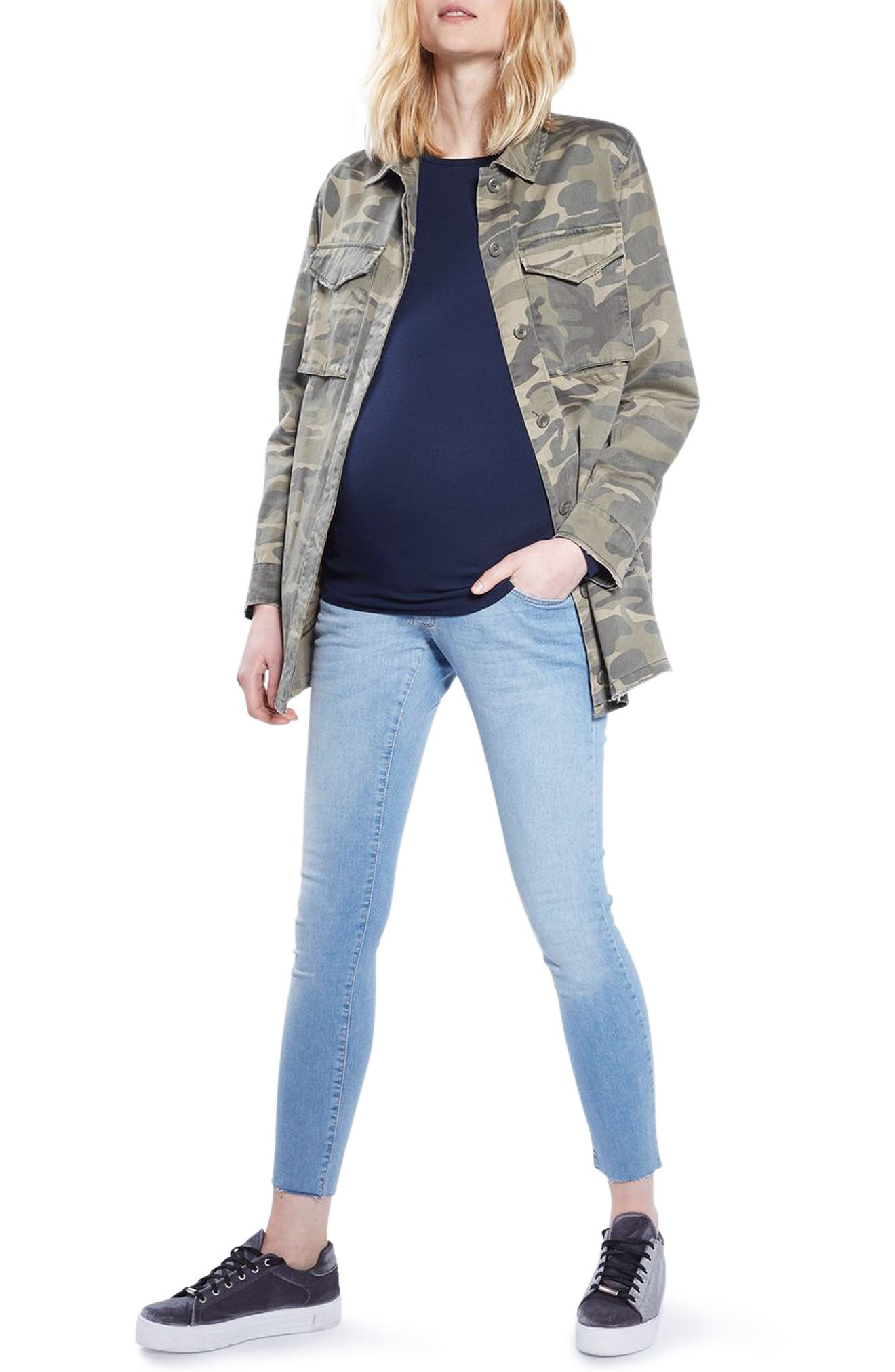 Alternate Image 1 Selected - Topshop Leigh Raw Hem Maternity Skinny Jeans
