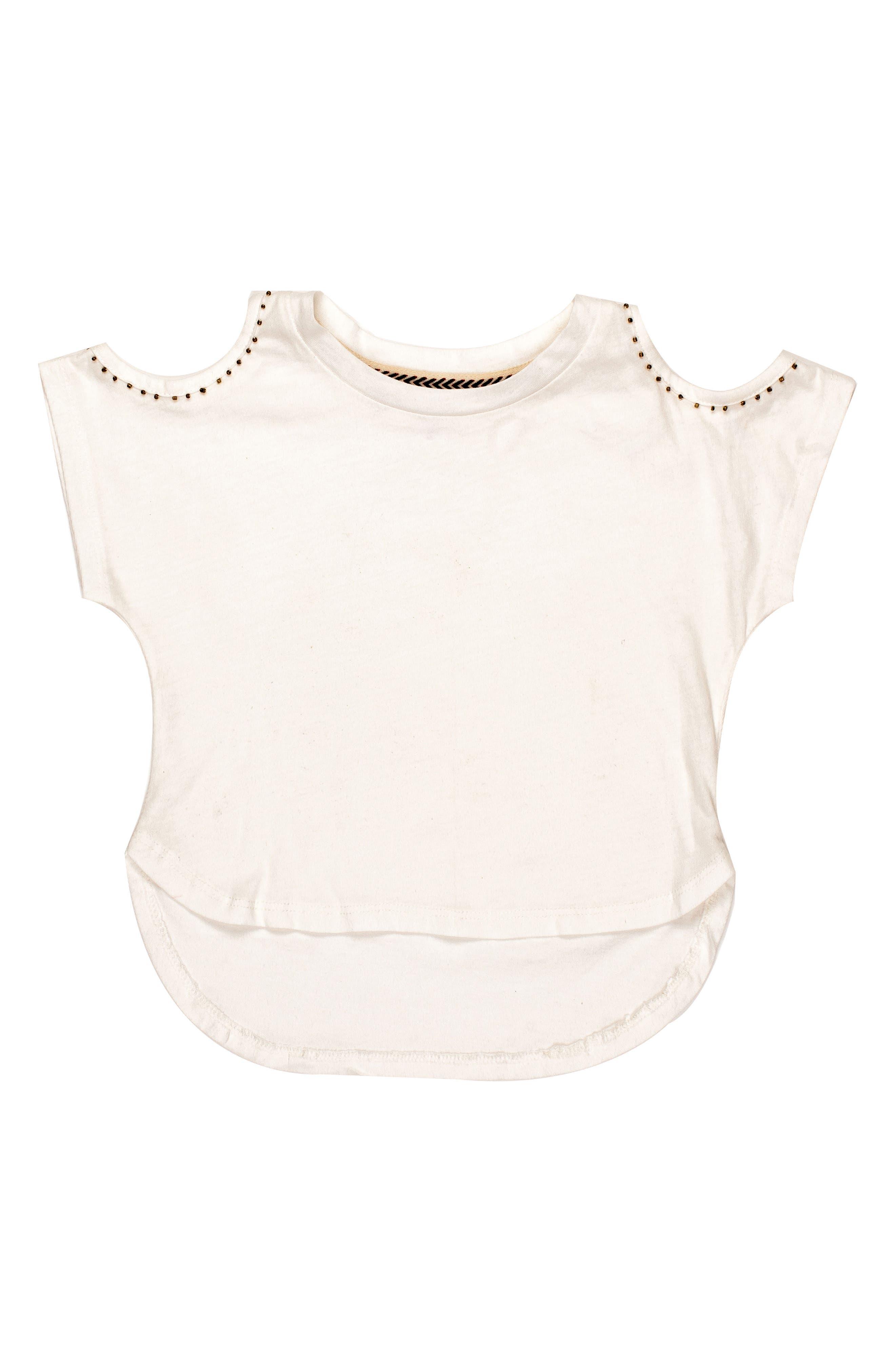 BOWIE X JAMES Oasis Beaded Cold Shoulder Tee (Toddler Girls, Little Girls & Big Girls)