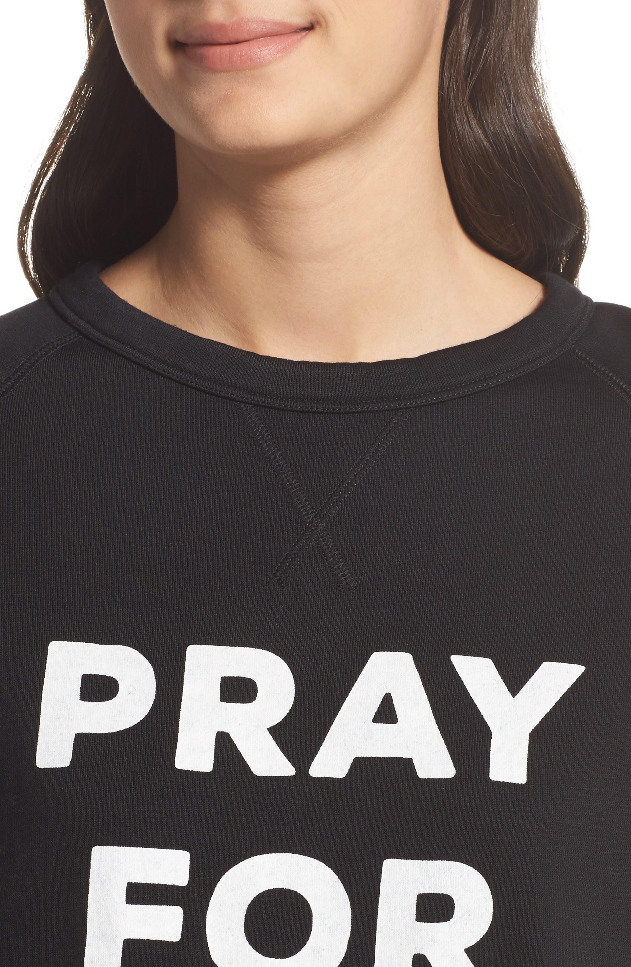 Pray For Wine Sweatshirt,                             Alternate thumbnail 4, color,                             Black