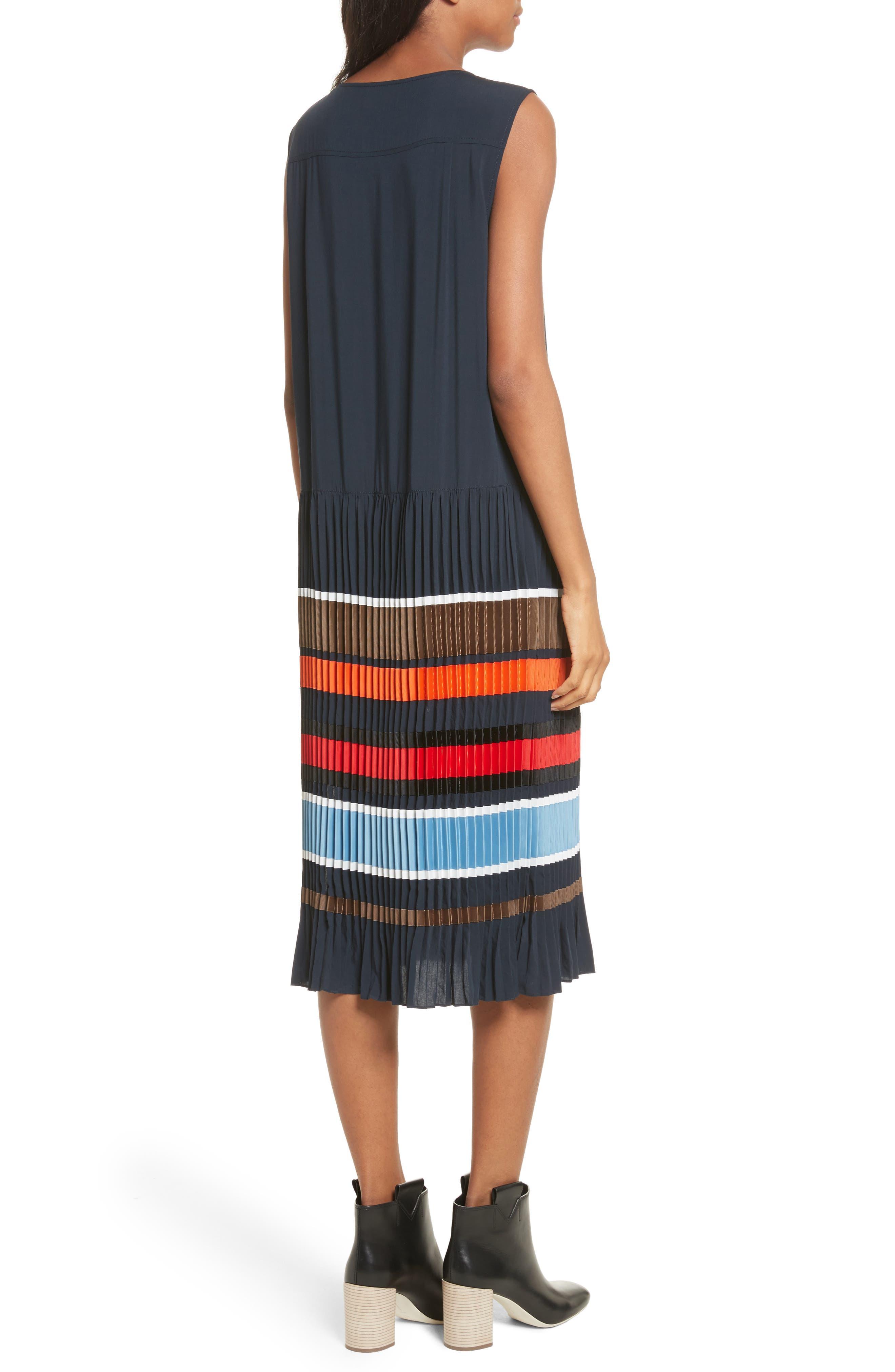 Jama Pleated Stripe Dress,                             Alternate thumbnail 2, color,                             Navy Multi