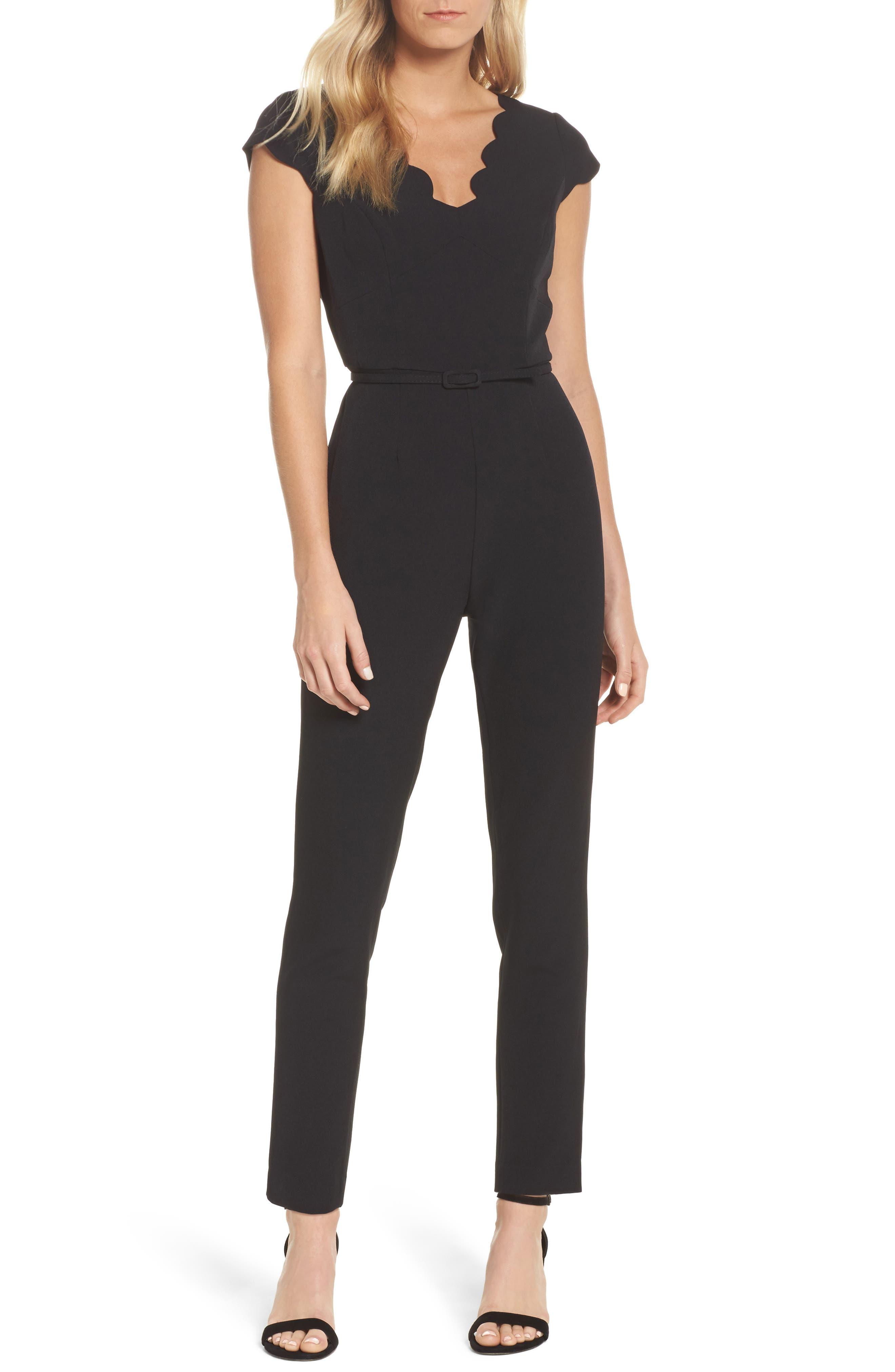 Crepe Jumpsuit,                             Main thumbnail 1, color,                             Black