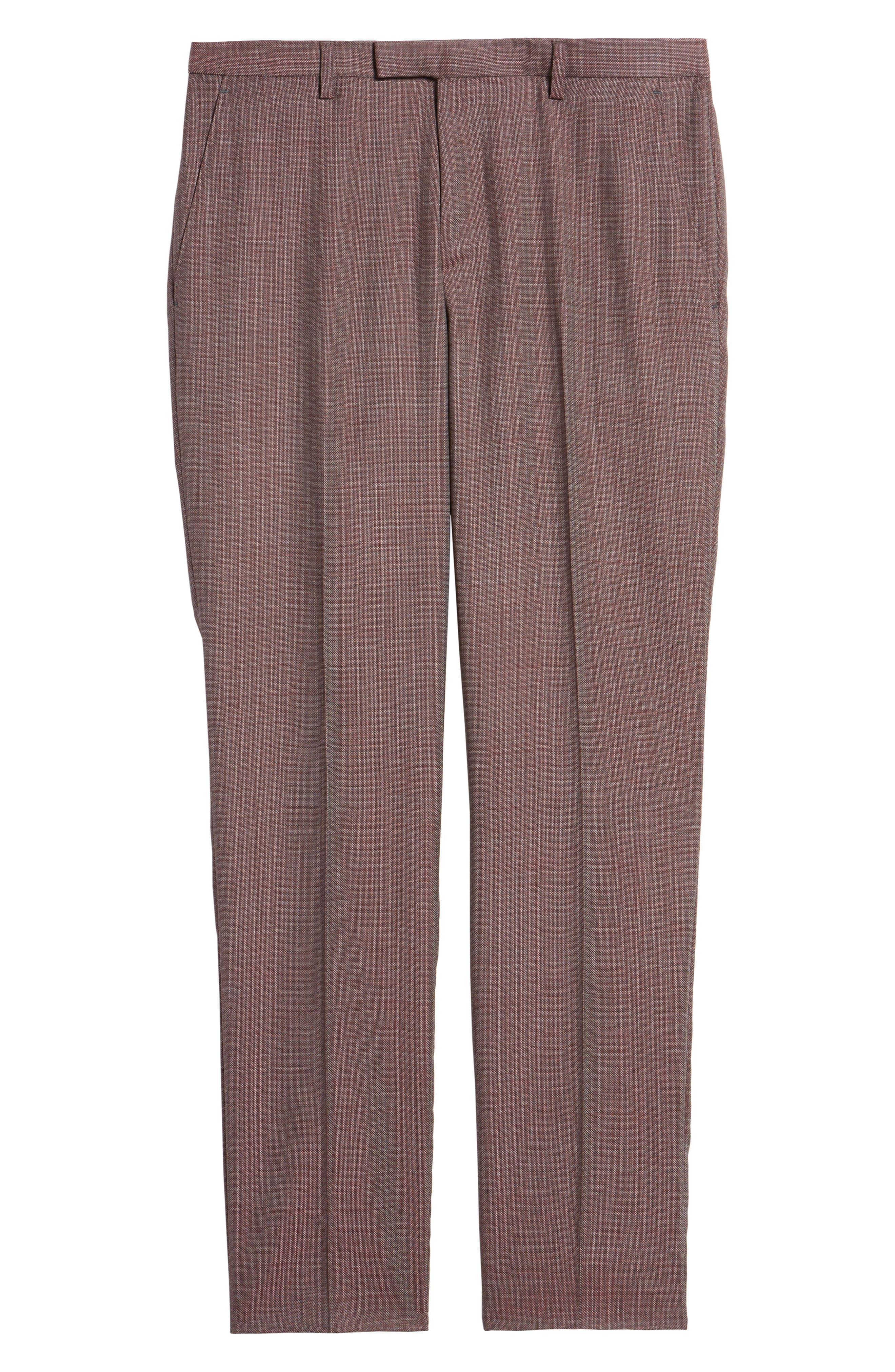 Leenon Flat Front Regular Fit Check Wool Trousers,                             Alternate thumbnail 6, color,                             Medium Red