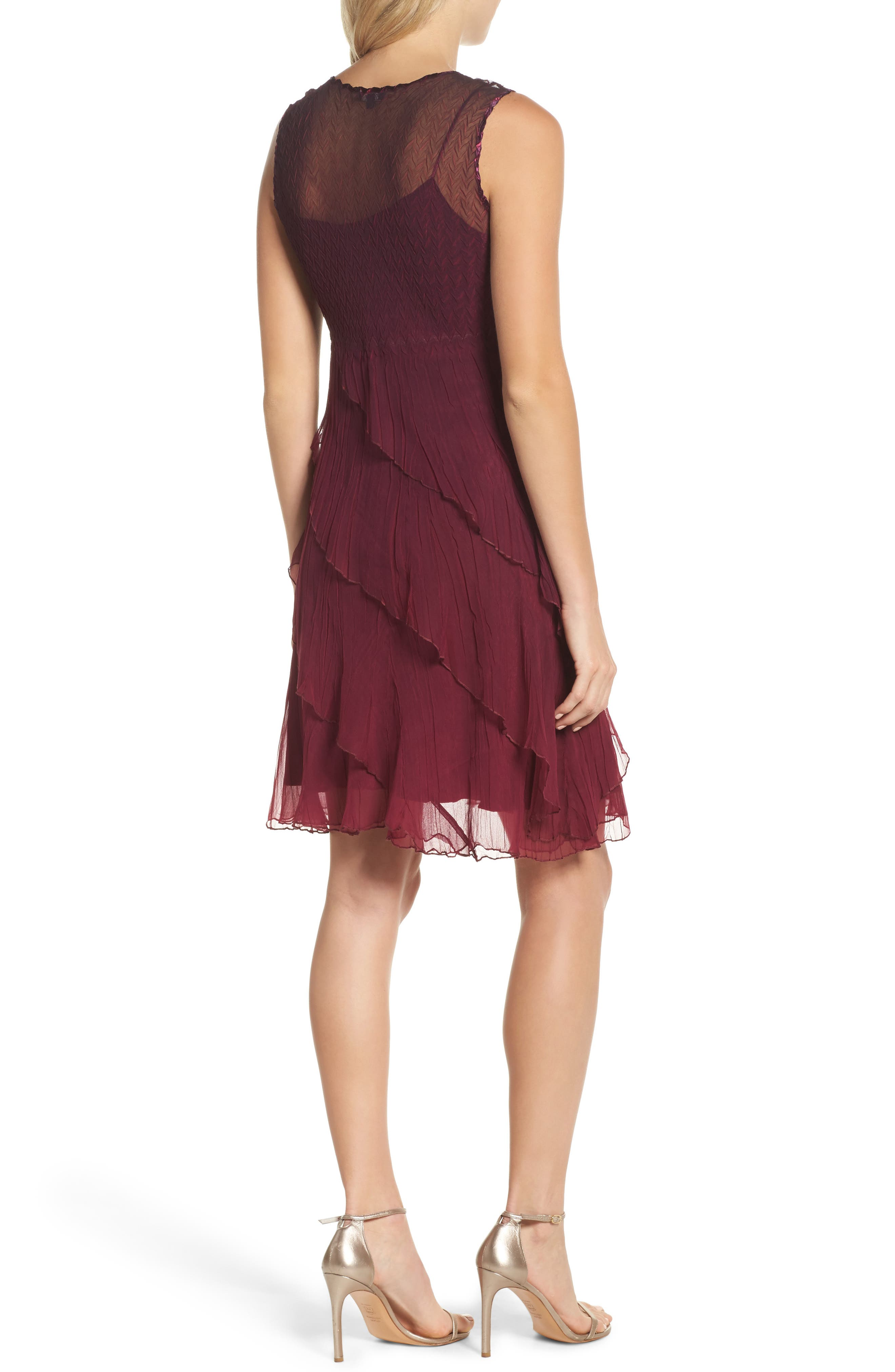 Tiered A-Line Dress with Shawl,                             Alternate thumbnail 3, color,                             Red Plum Night