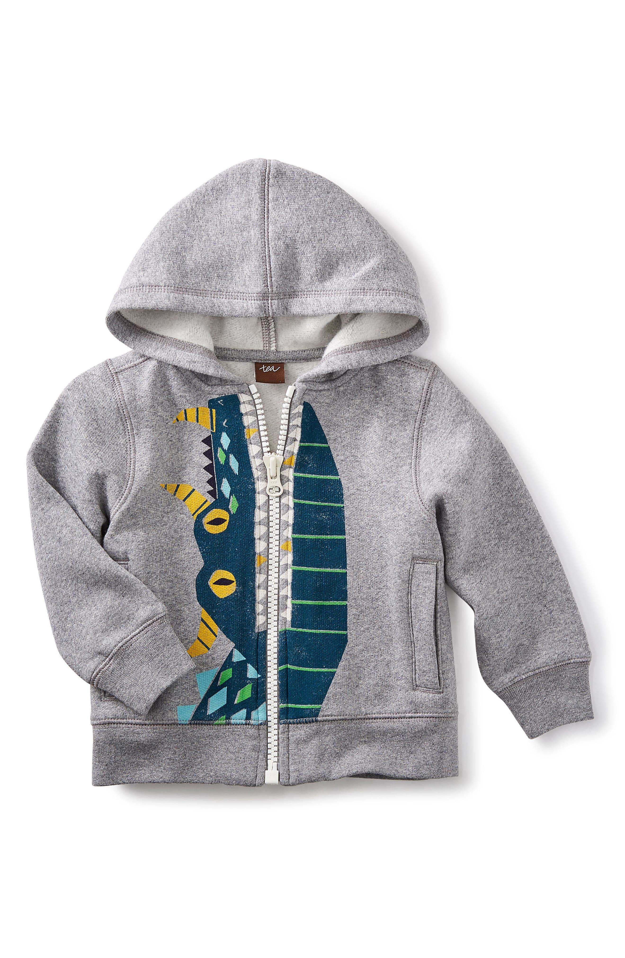 Tea Collection Dragon Teeth Full Zip Hoodie (Baby Boys)
