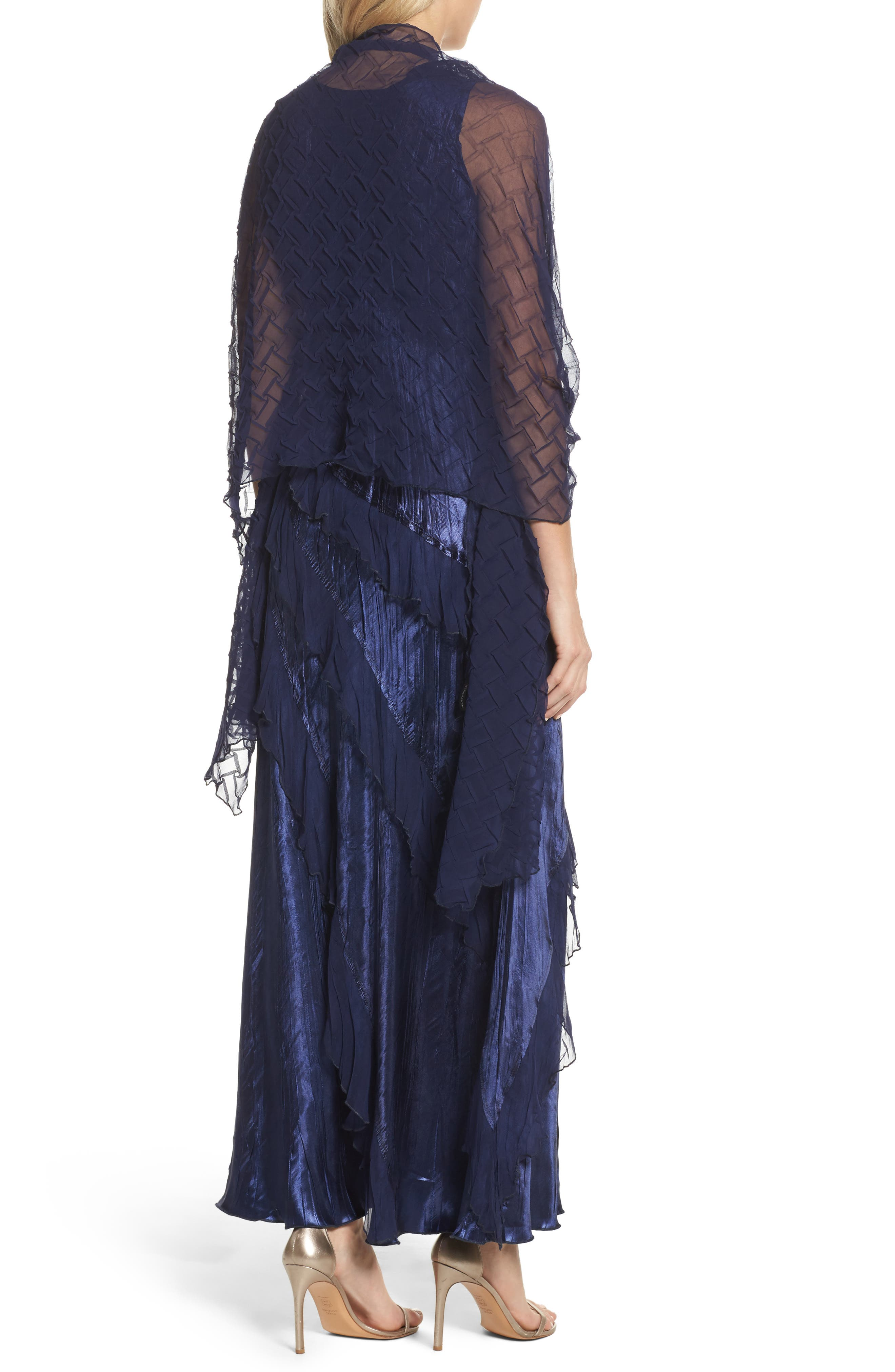 Ruffle Maxi Dress with Wrap,                             Alternate thumbnail 2, color,                             Midnight Navy