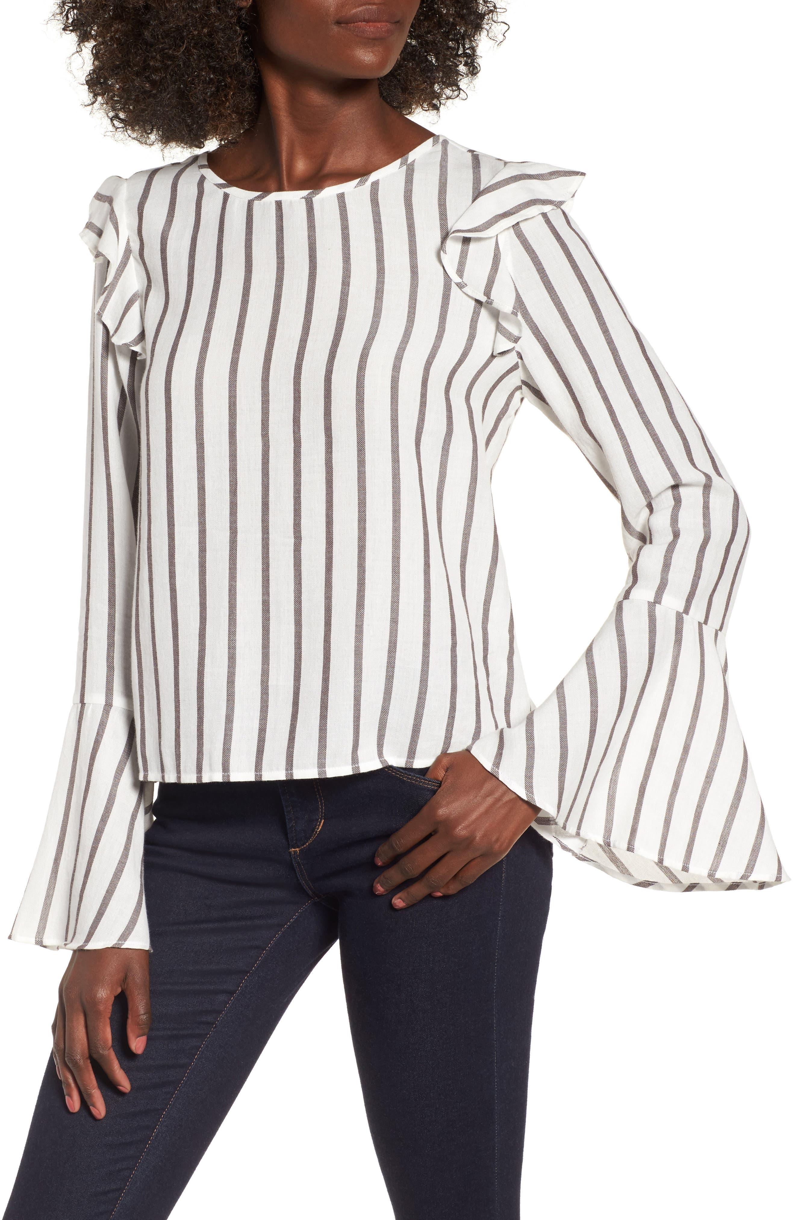 Ruffle Shoulder Flare Cuff Shirt,                         Main,                         color, Ivory Egret Emmy Stripe