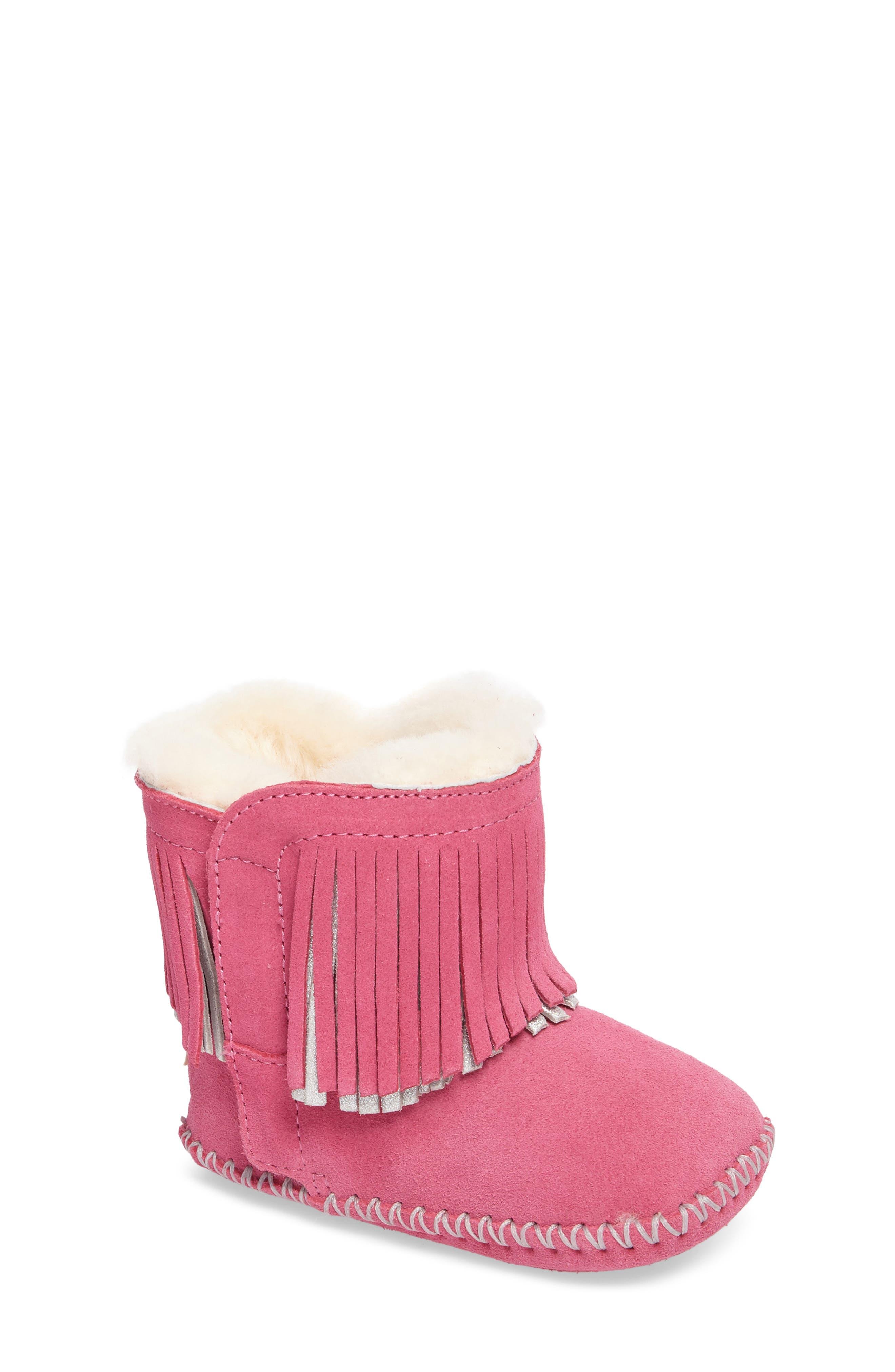 Branyon Fringe Genuine Shearling Bootie,                             Main thumbnail 1, color,                             Pink Azalea