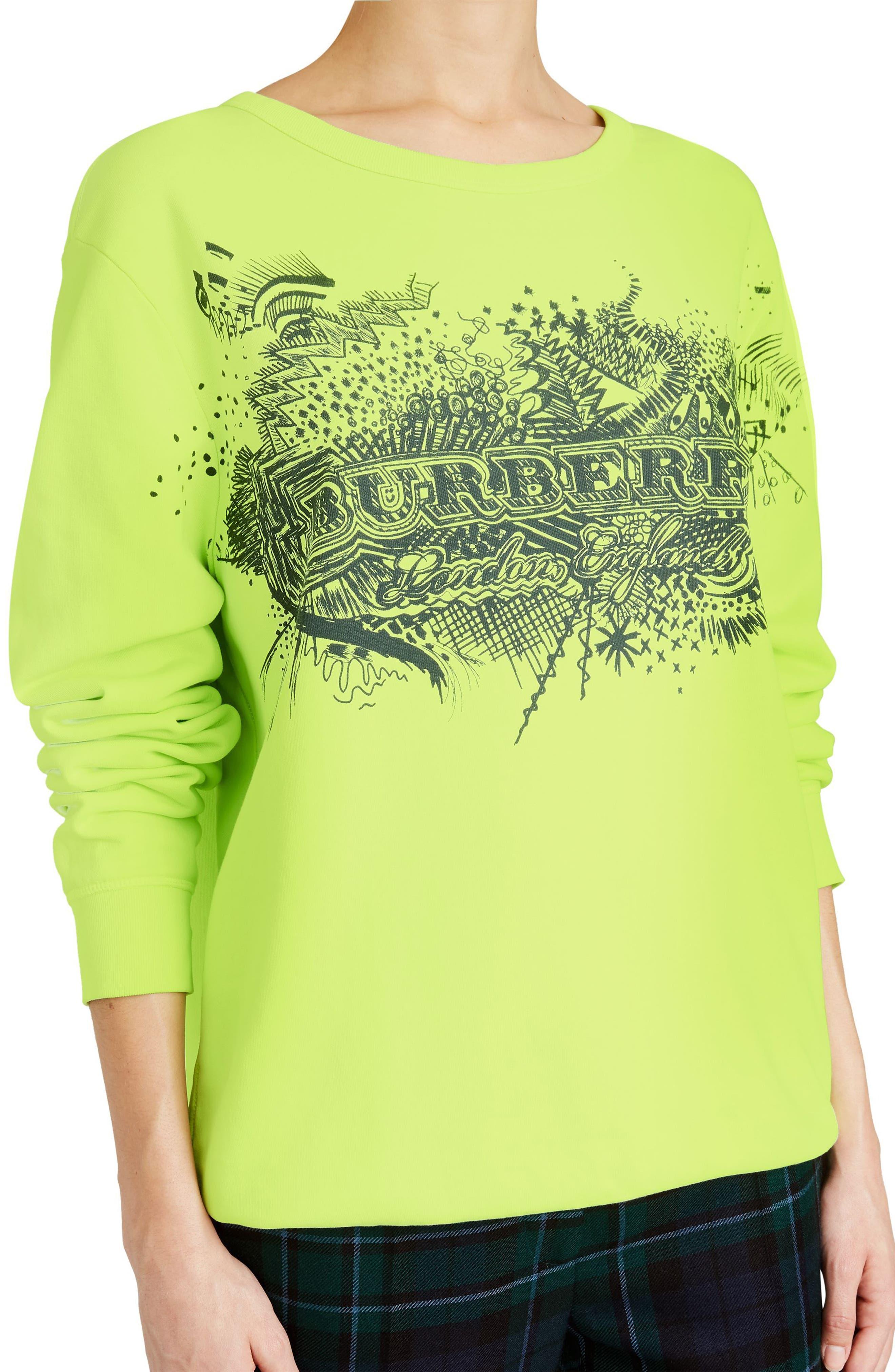 Sauer Doodle Print Cotton Sweatshirt,                             Alternate thumbnail 3, color,                             Fluorescent Yellow