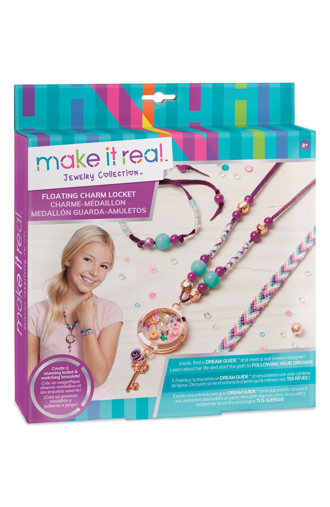 Floating Charm Locket Jewelry Kit,                             Main thumbnail 1, color,                             Multi
