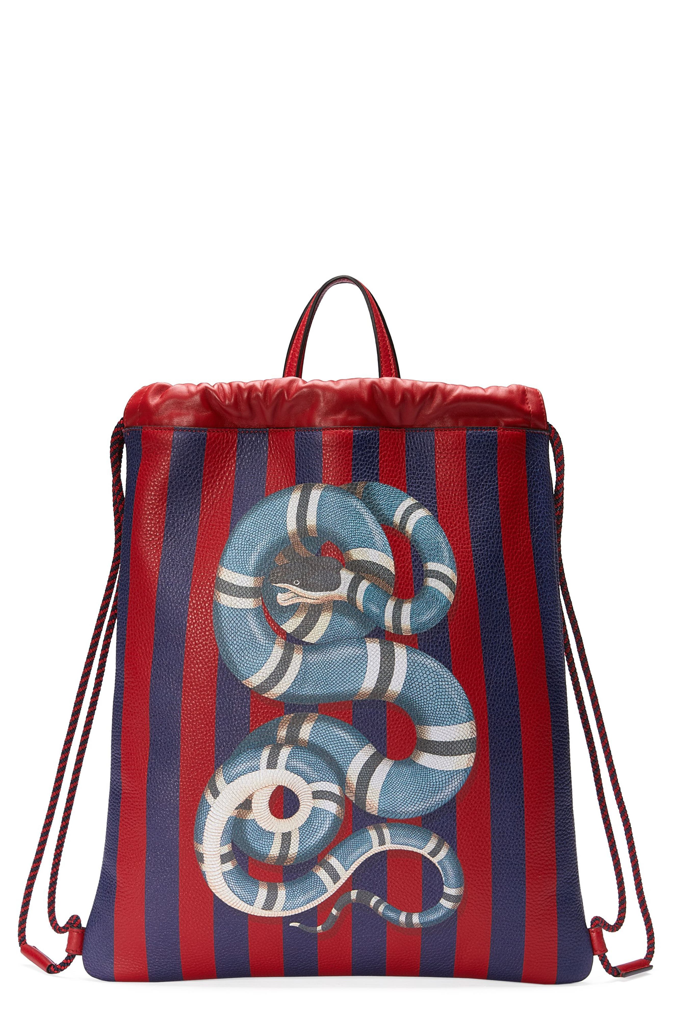 Alternate Image 1 Selected - Gucci Kingsnake Stripe Leather Drawstring Backpack