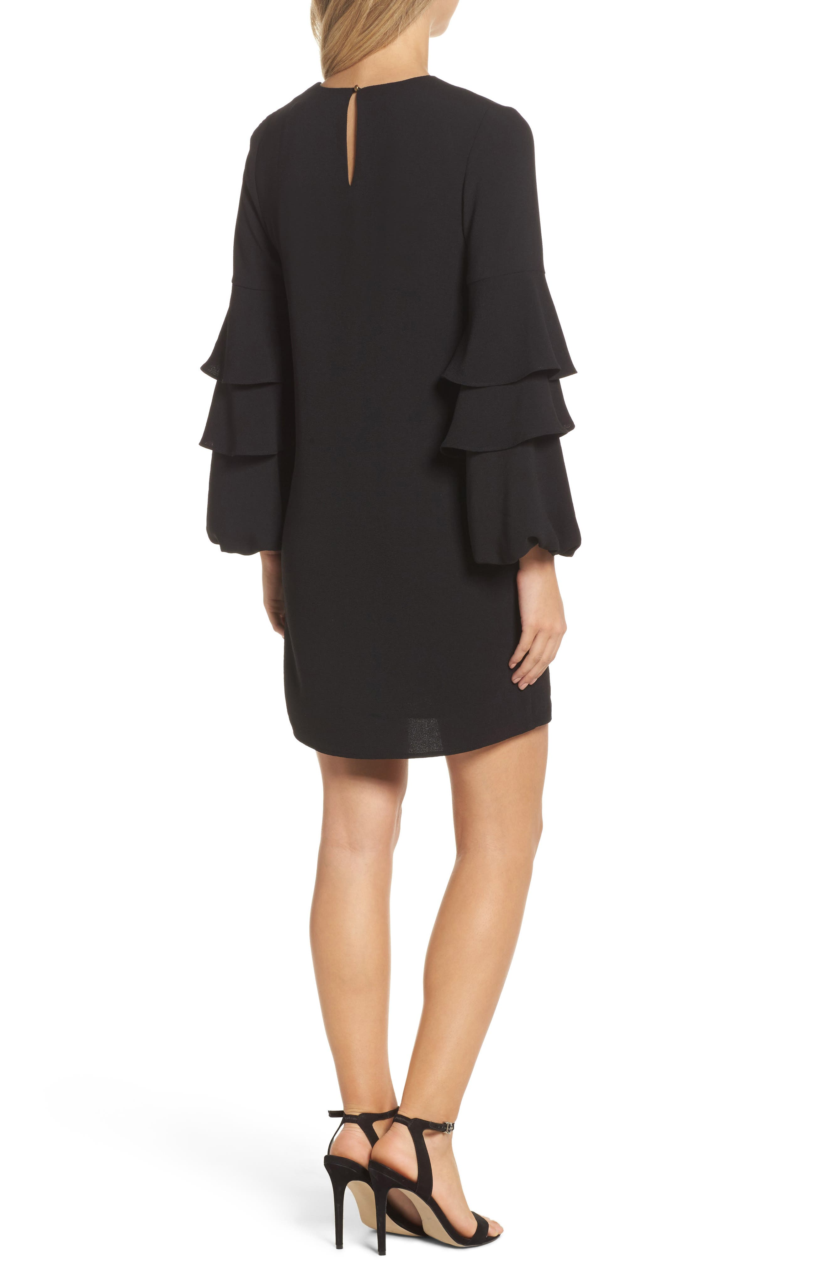 Tiered Ruffle Sleeve Dress,                             Alternate thumbnail 2, color,                             Black