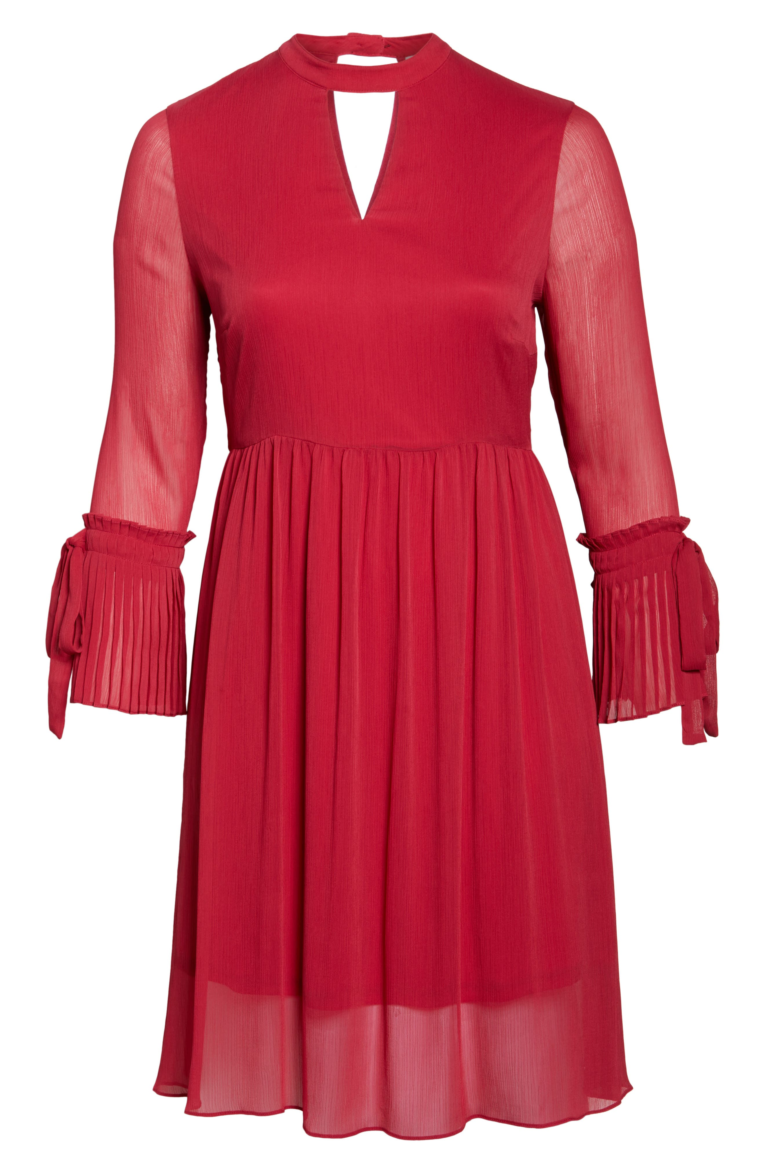 Pleat Cuff Fit & Flare Dress,                             Alternate thumbnail 7, color,                             Pink