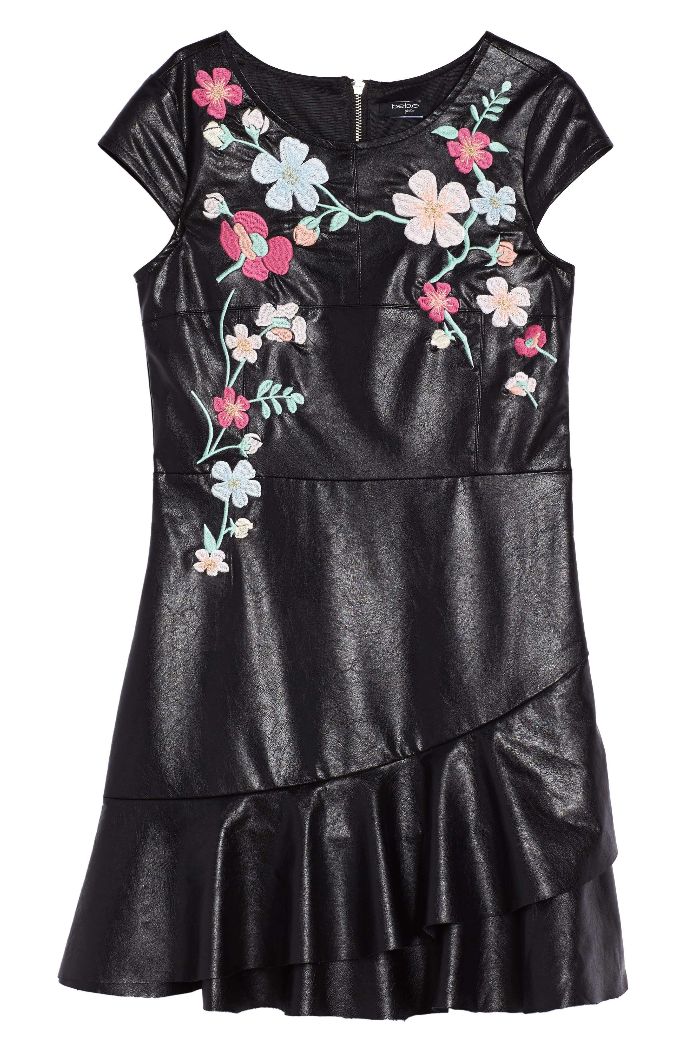 Embroidered Faux Leather Dress,                             Main thumbnail 1, color,                             Black