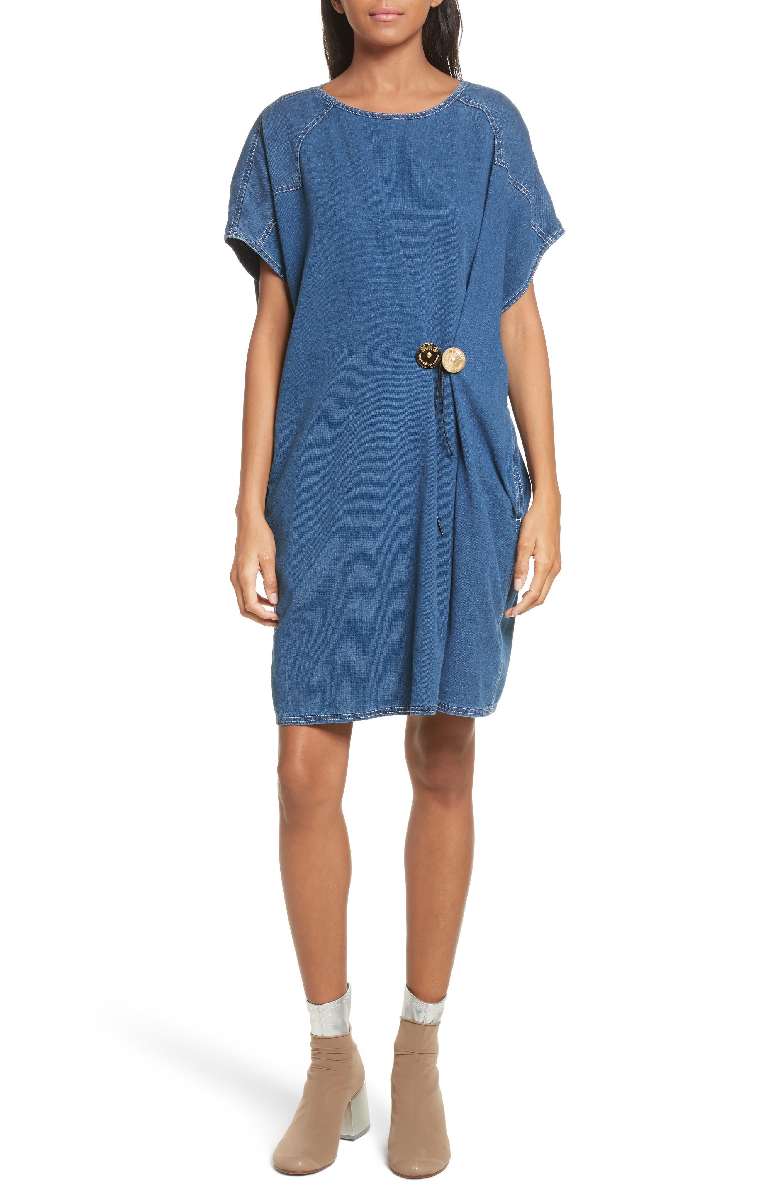 '80s Wash Denim Dress,                             Main thumbnail 1, color,                             Medium Blue