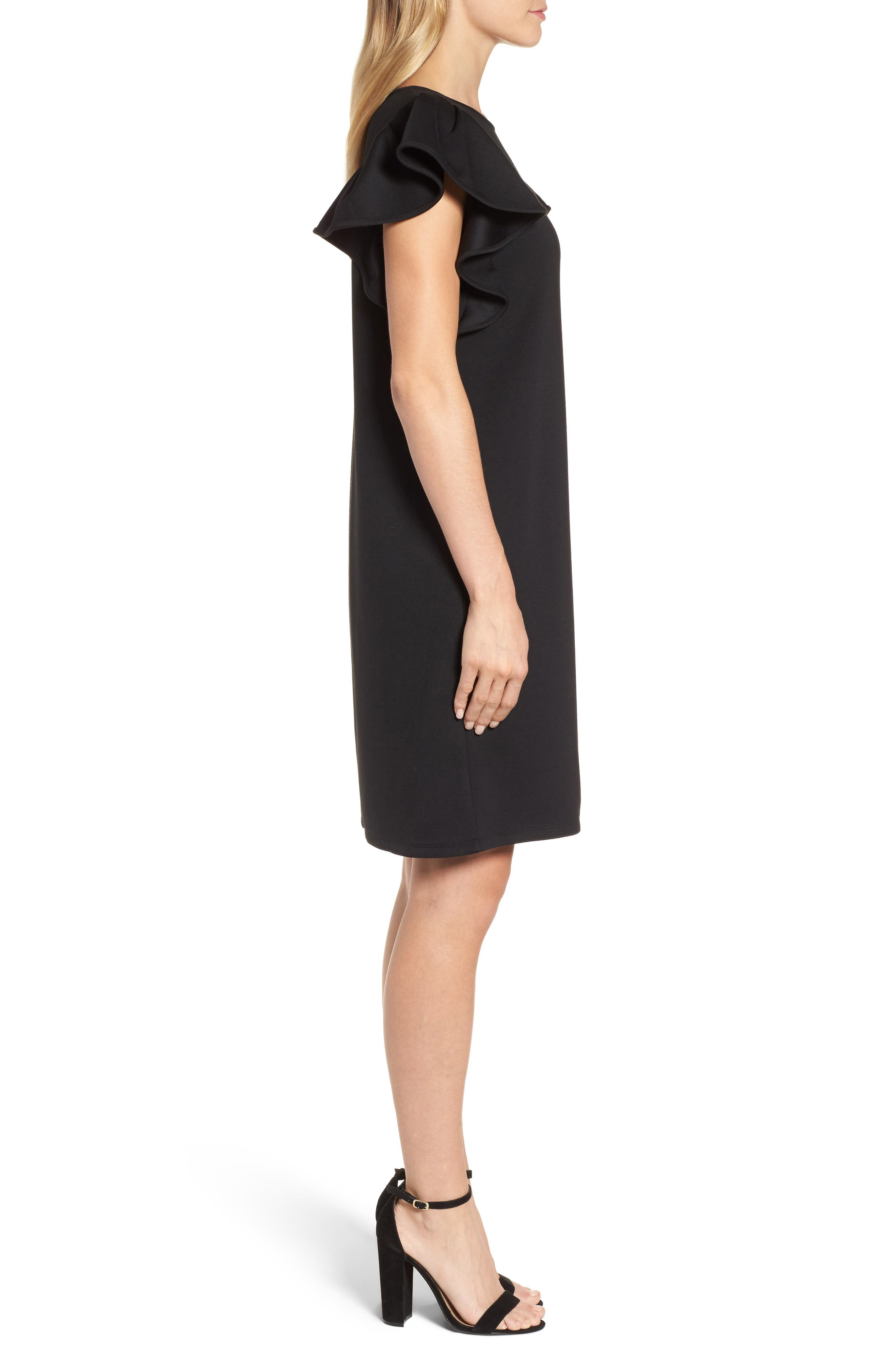 Ruffle Sleeve Neoprene Shift Dress,                             Alternate thumbnail 3, color,                             Black