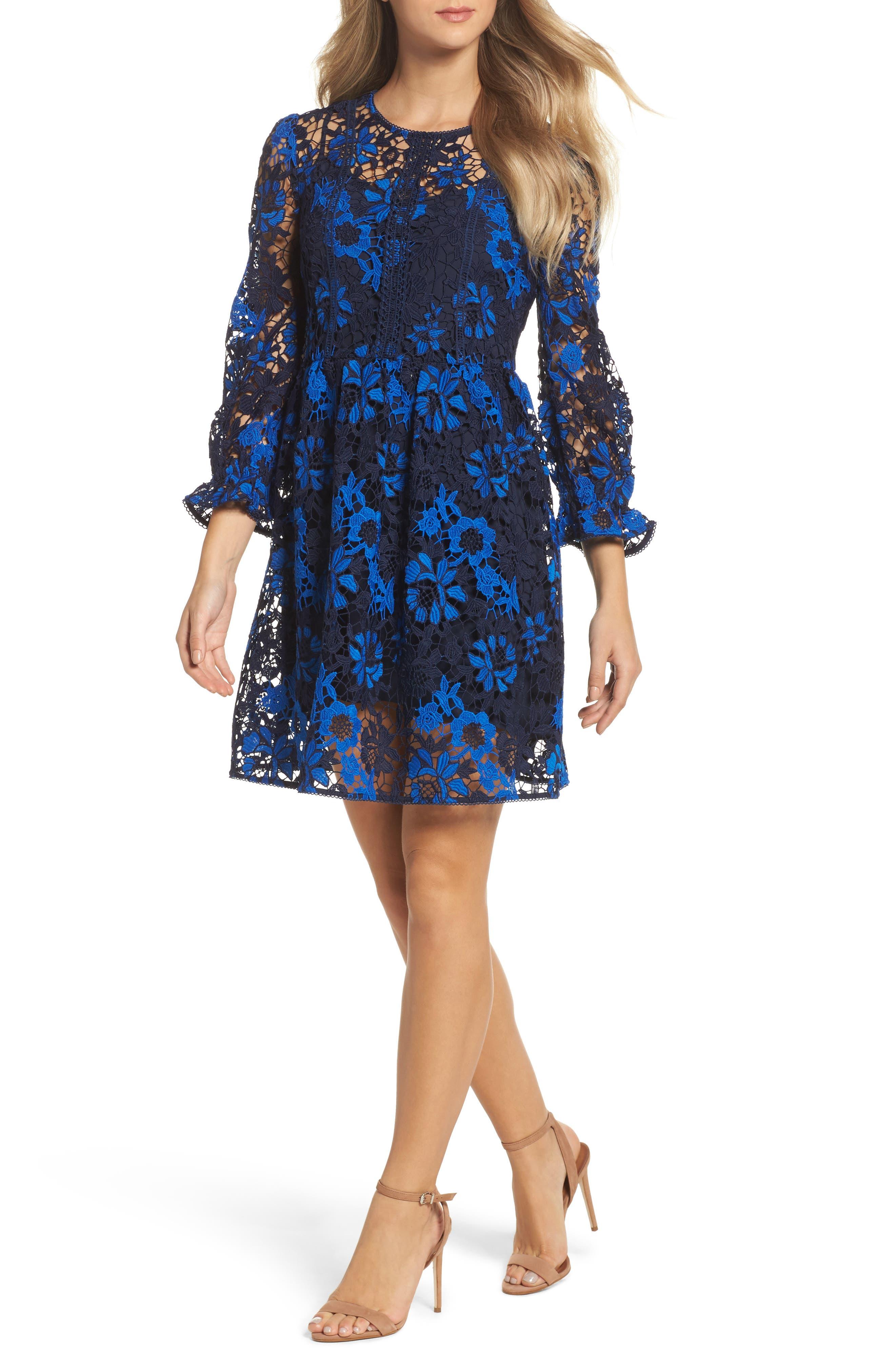 Musa Lace Dress,                         Main,                         color, Heritage Blue Multi