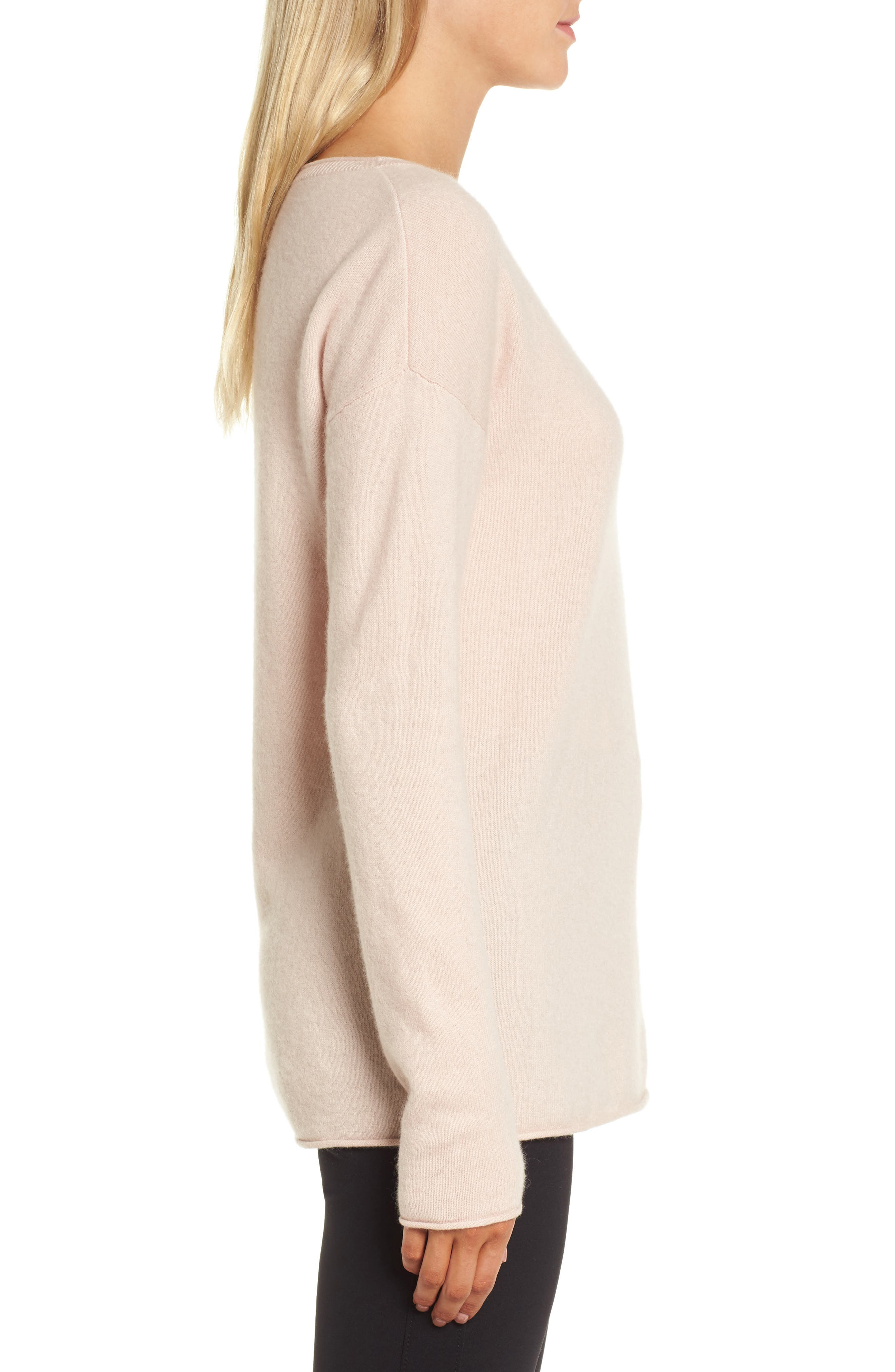 Boiled Cashmere Sweater,                             Alternate thumbnail 3, color,                             Pink Peach