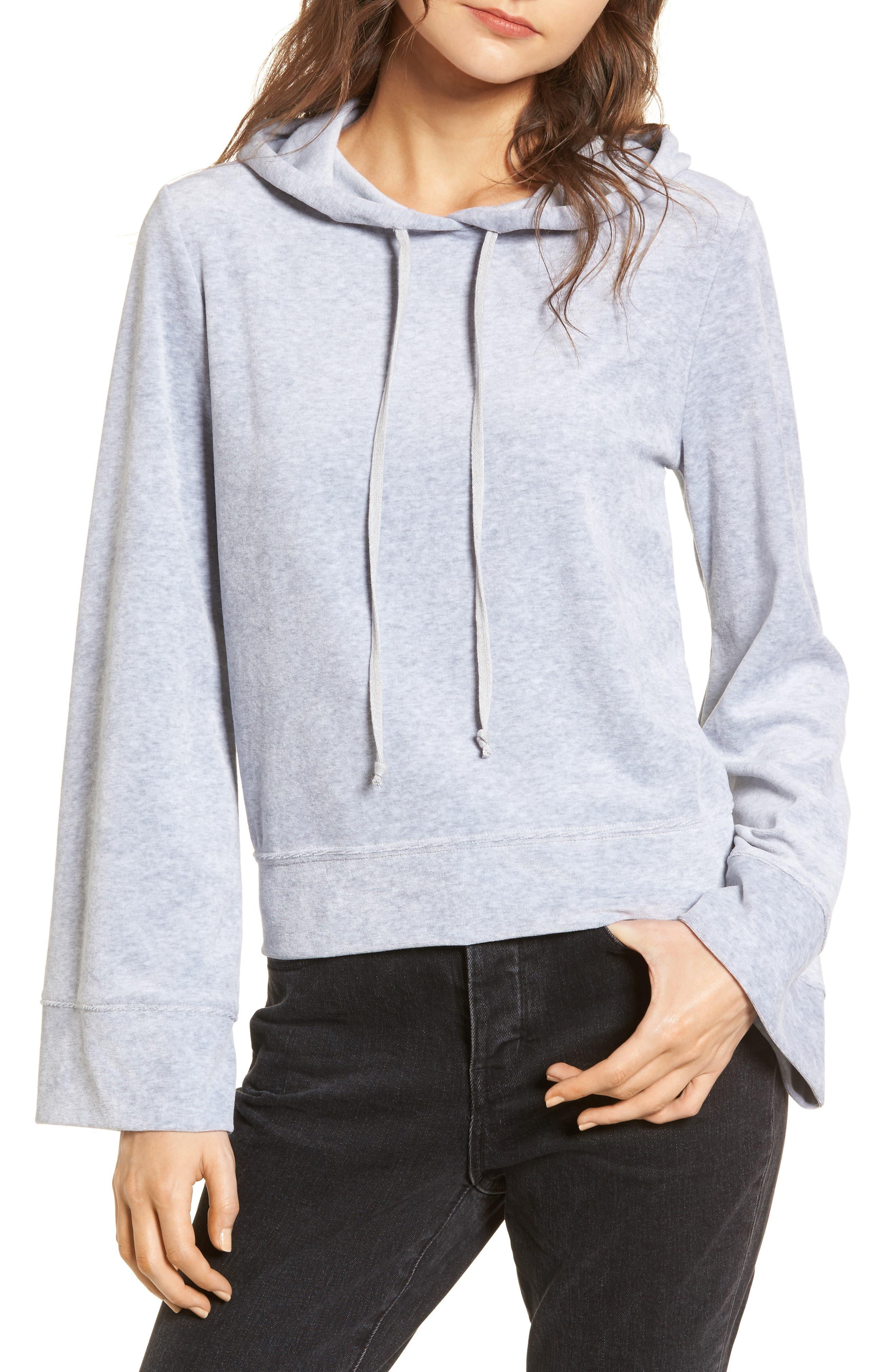 Velour Hoodie,                         Main,                         color, Grey Heather