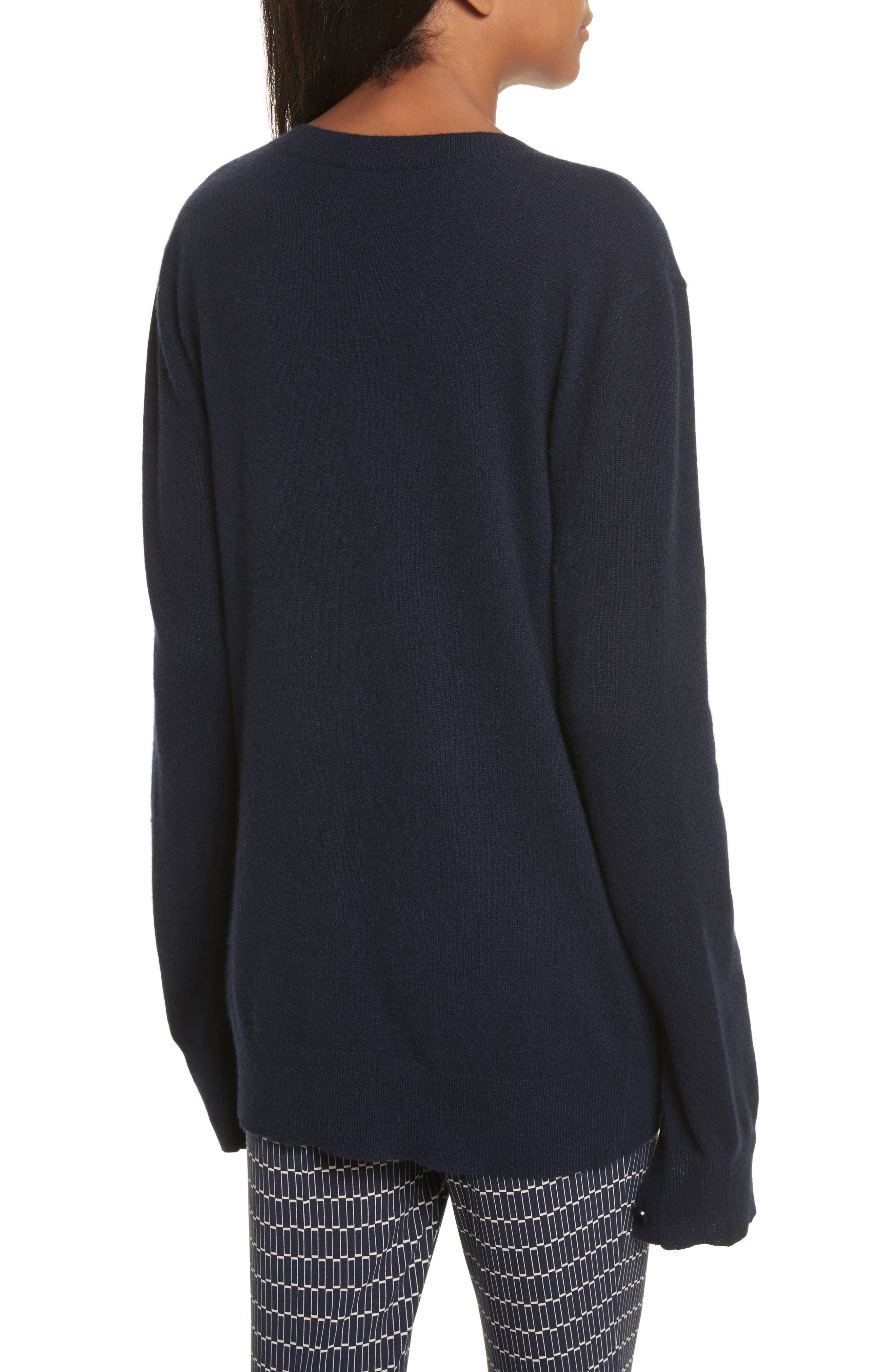 Button Sleeve Cashmere Sweater,                             Alternate thumbnail 2, color,                             Deep Navy